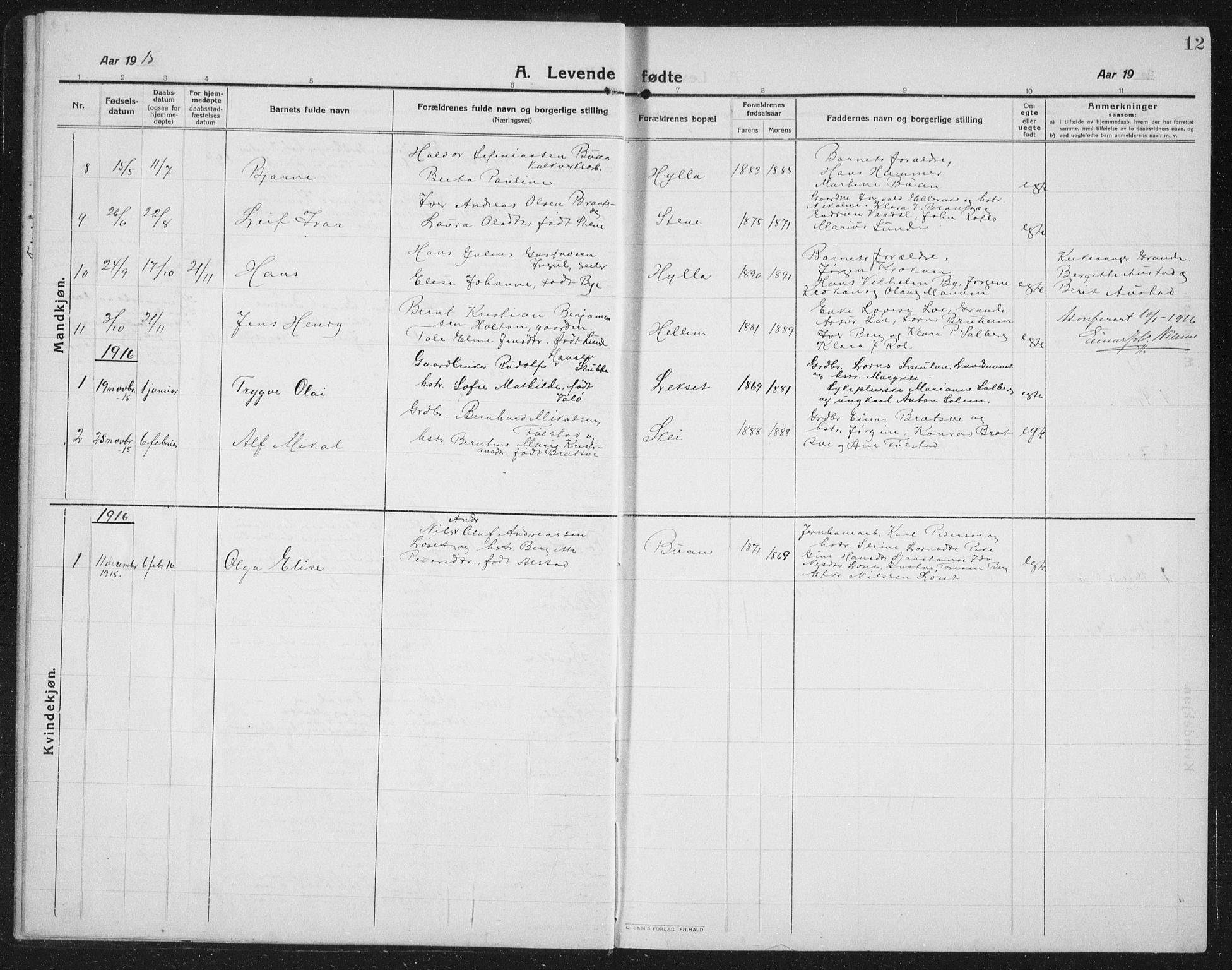 SAT, Ministerialprotokoller, klokkerbøker og fødselsregistre - Nord-Trøndelag, 731/L0312: Klokkerbok nr. 731C03, 1911-1935, s. 12