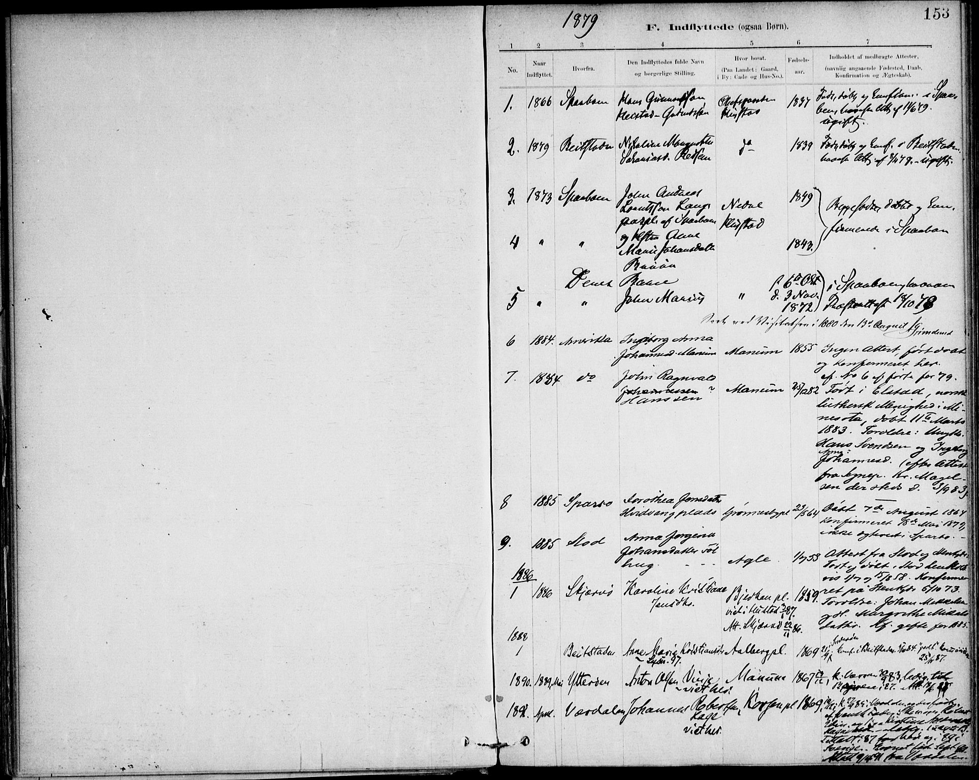 SAT, Ministerialprotokoller, klokkerbøker og fødselsregistre - Nord-Trøndelag, 732/L0316: Ministerialbok nr. 732A01, 1879-1921, s. 153