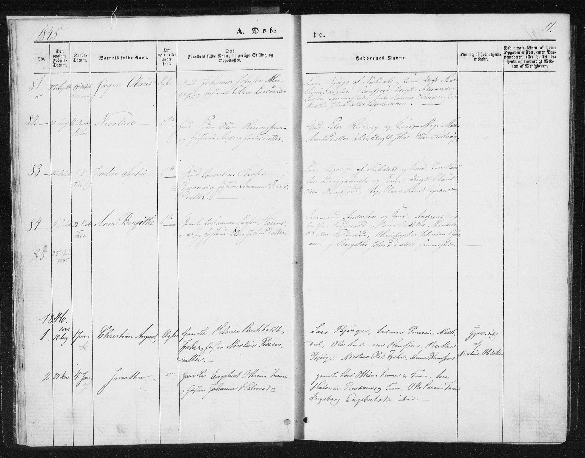 SAT, Ministerialprotokoller, klokkerbøker og fødselsregistre - Nord-Trøndelag, 780/L0640: Ministerialbok nr. 780A05, 1845-1856, s. 11