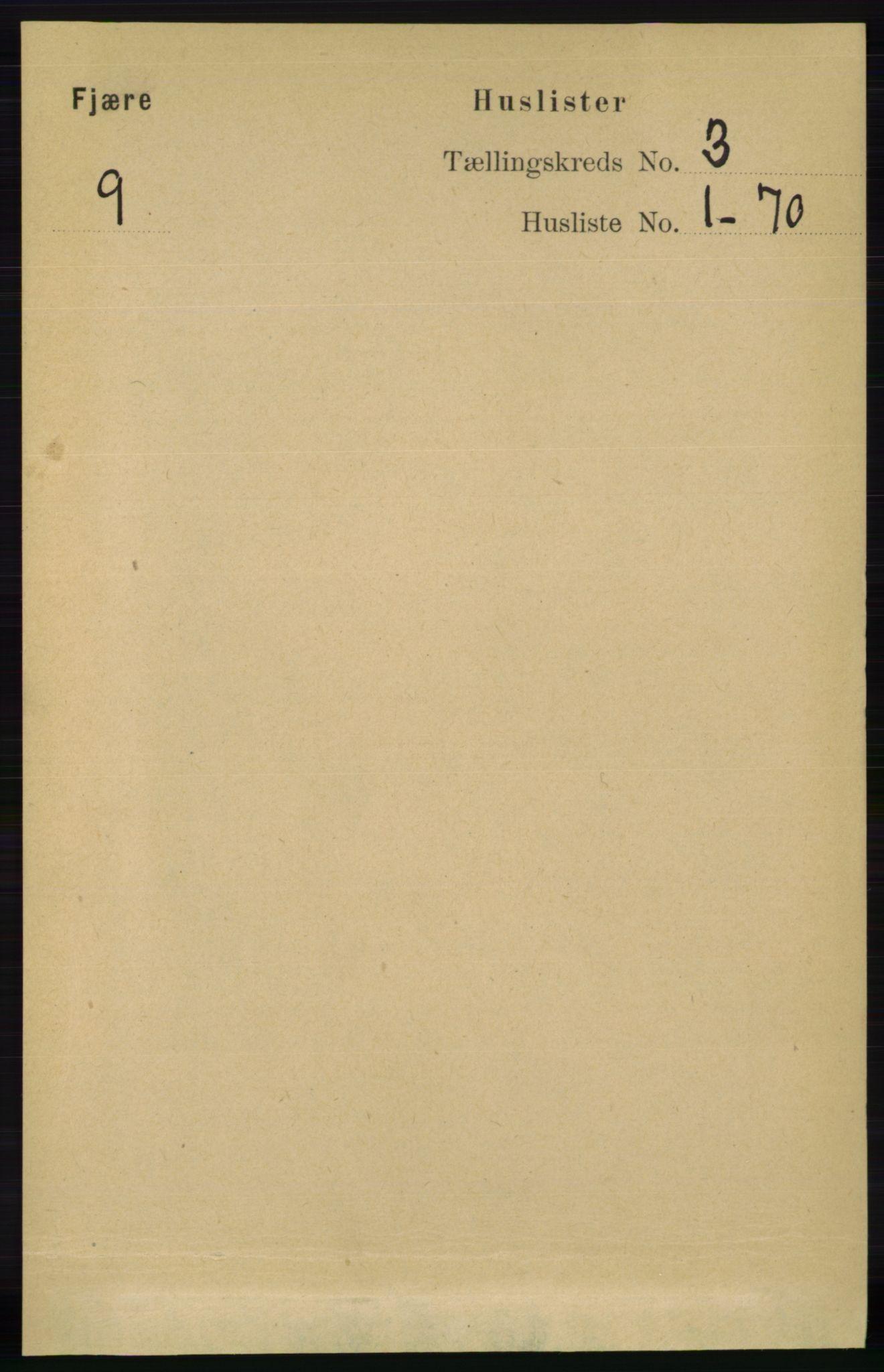 RA, Folketelling 1891 for 0923 Fjære herred, 1891, s. 1308