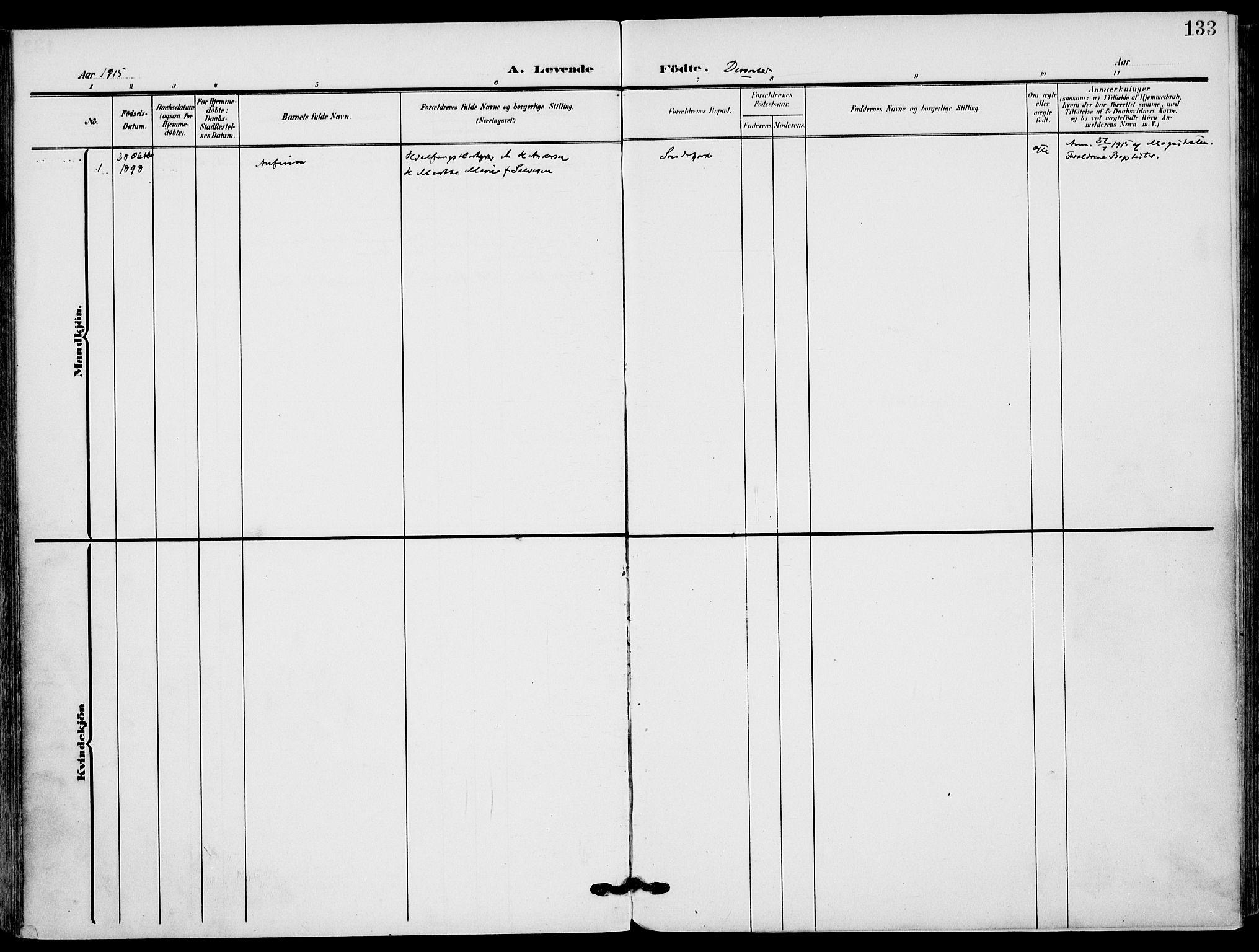 SAKO, Sandefjord kirkebøker, F/Fa/L0005: Ministerialbok nr. 5, 1906-1915, s. 133