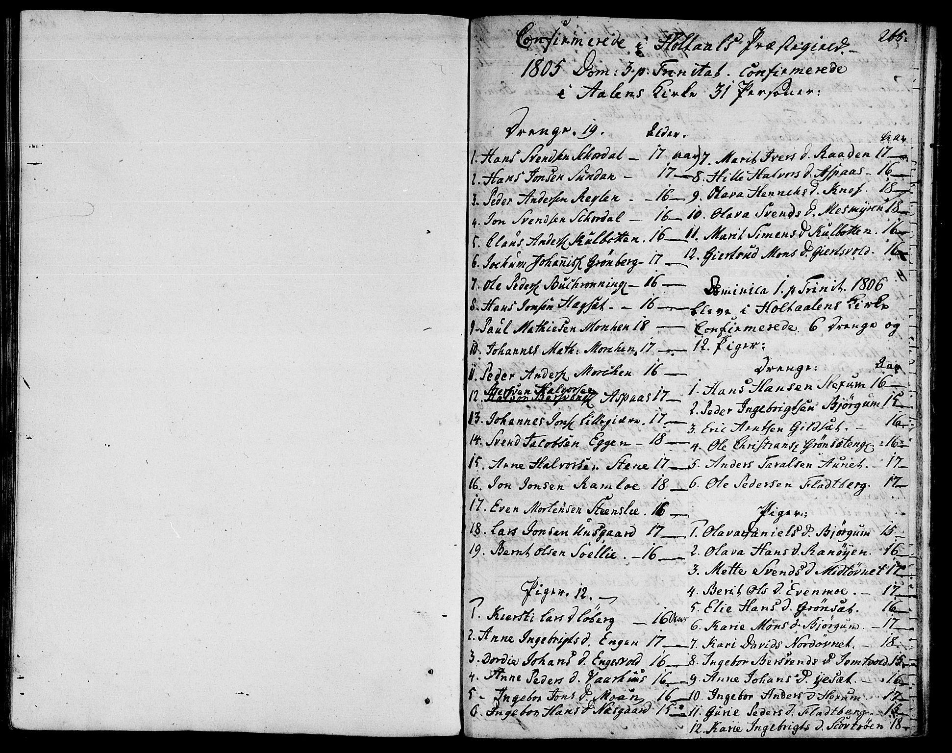 SAT, Ministerialprotokoller, klokkerbøker og fødselsregistre - Sør-Trøndelag, 685/L0953: Ministerialbok nr. 685A02, 1805-1816, s. 265
