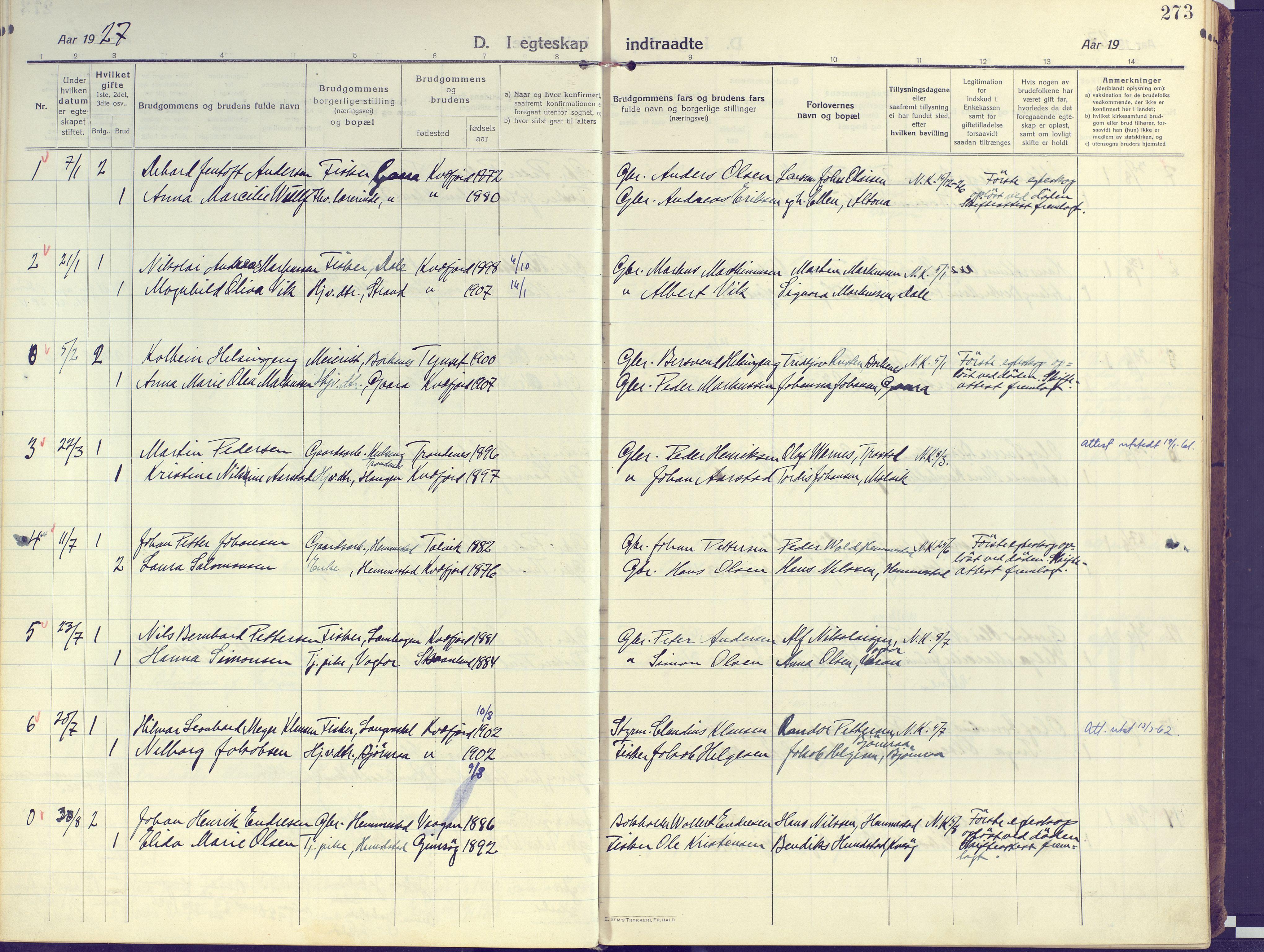 SATØ, Kvæfjord sokneprestkontor, G/Ga/Gaa/L0007kirke: Ministerialbok nr. 7, 1915-1931, s. 273
