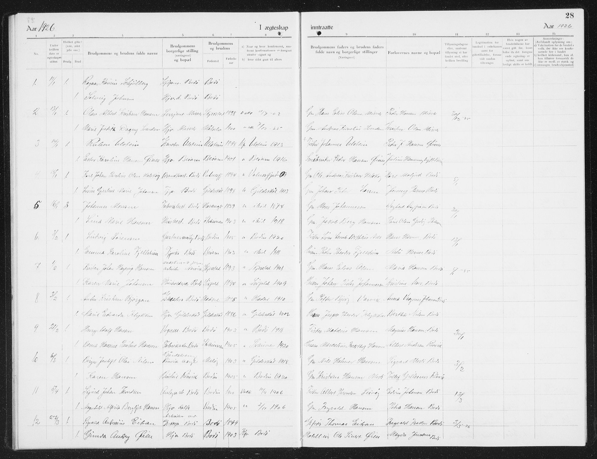 SAT, Ministerialprotokoller, klokkerbøker og fødselsregistre - Nordland, 801/L0036: Klokkerbok nr. 801C11, 1920-1934, s. 28