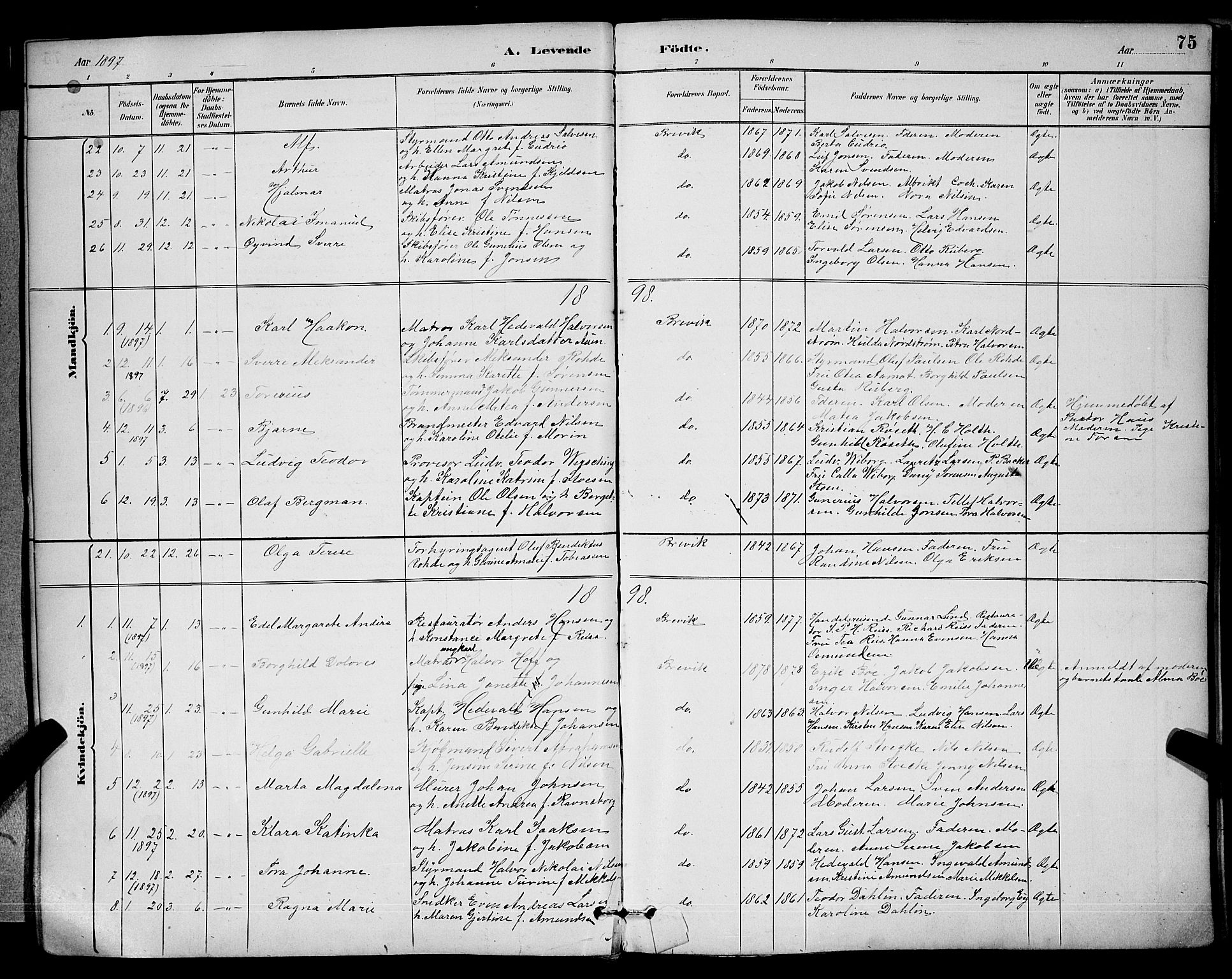 SAKO, Brevik kirkebøker, G/Ga/L0004: Klokkerbok nr. 4, 1882-1900, s. 75