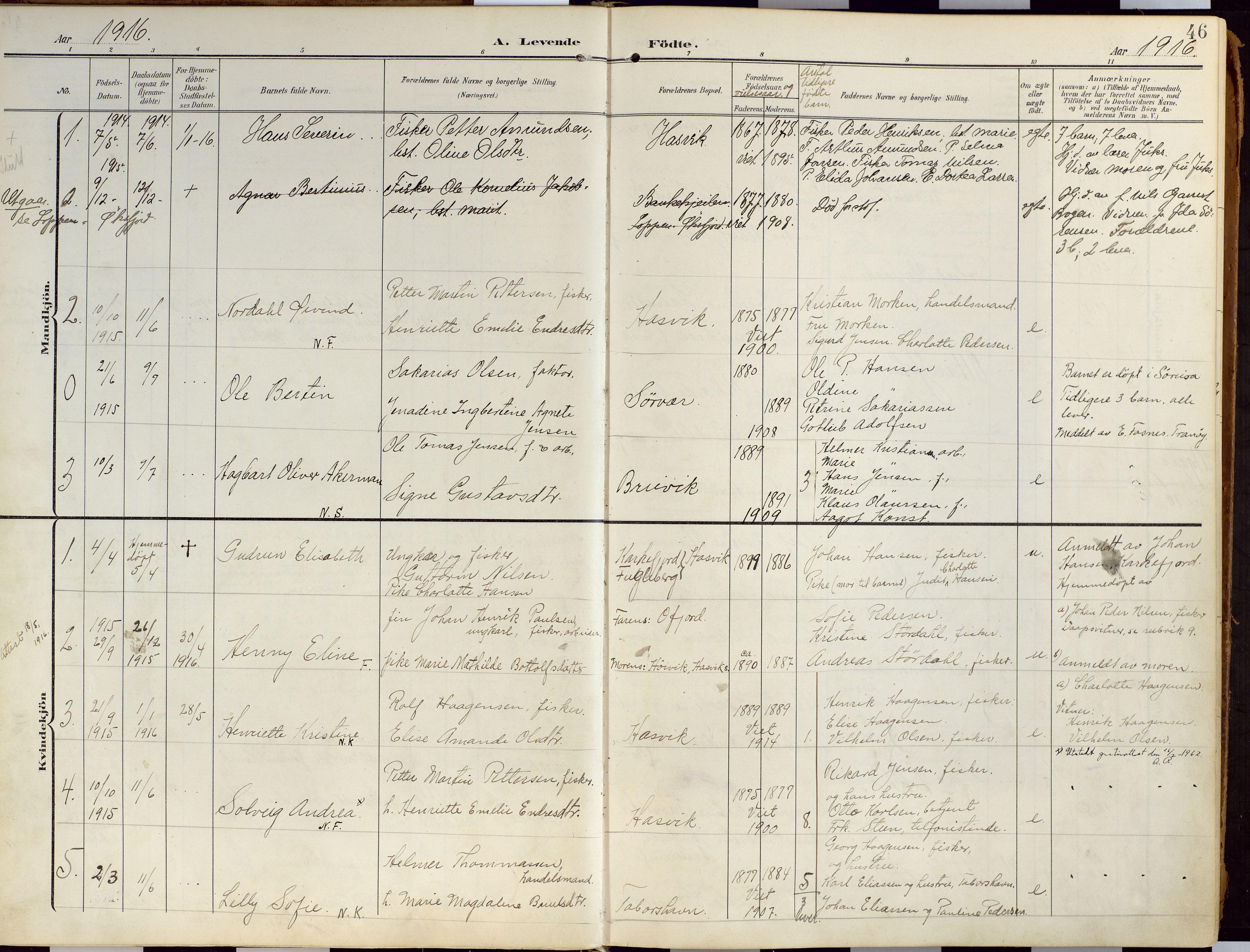 SATØ, Loppa sokneprestkontor, H/Ha/L0010kirke: Ministerialbok nr. 10, 1907-1922, s. 46