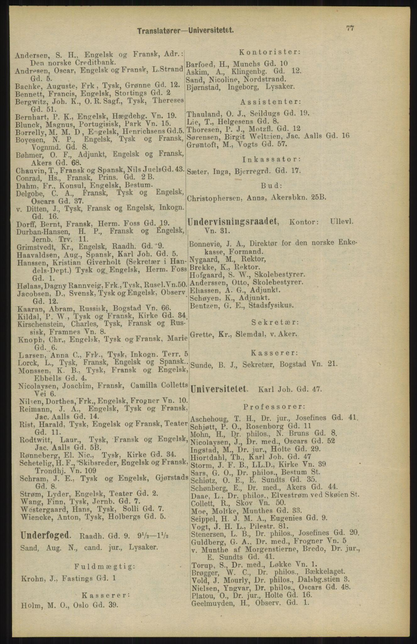 RA, Kristiania adressebok (publikasjon)*, 1904, s. 77