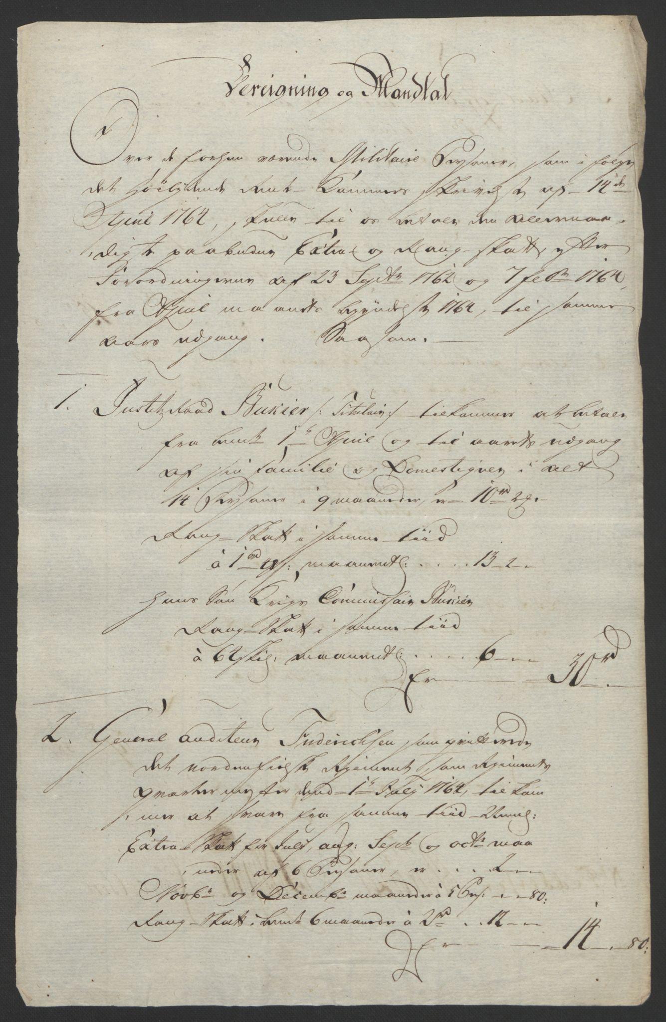 RA, Rentekammeret inntil 1814, Reviderte regnskaper, Byregnskaper, R/Re/L0072: [E13] Kontribusjonsregnskap, 1763-1764, s. 444