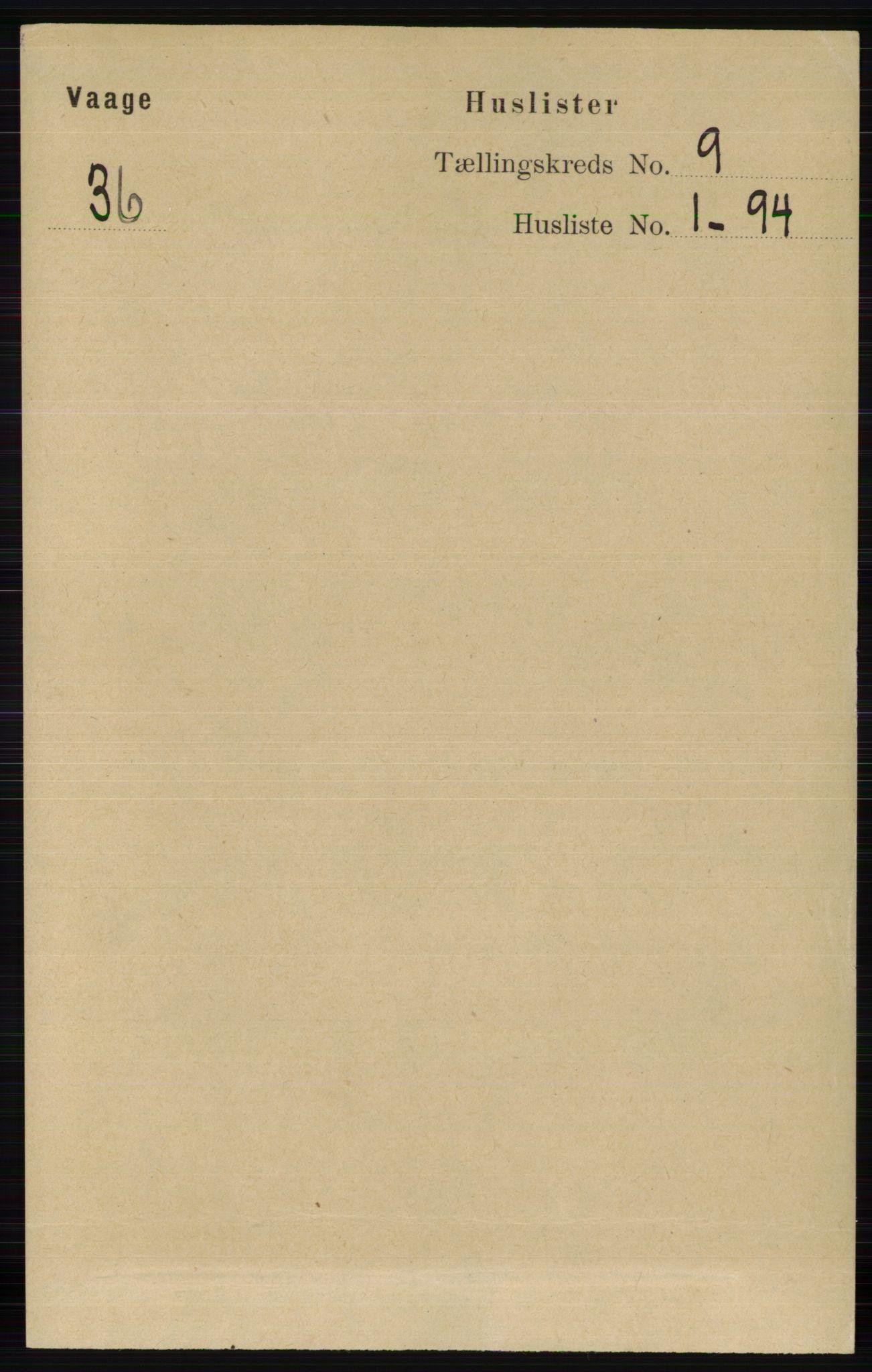 RA, Folketelling 1891 for 0515 Vågå herred, 1891, s. 5382