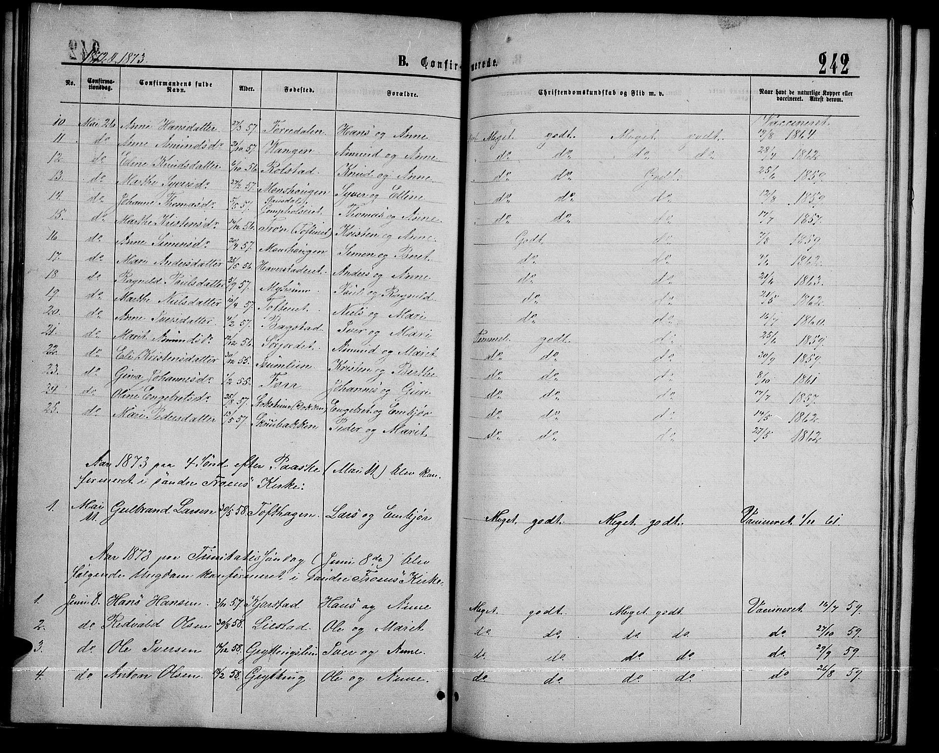 SAH, Sør-Fron prestekontor, H/Ha/Hab/L0002: Klokkerbok nr. 2, 1864-1883, s. 242