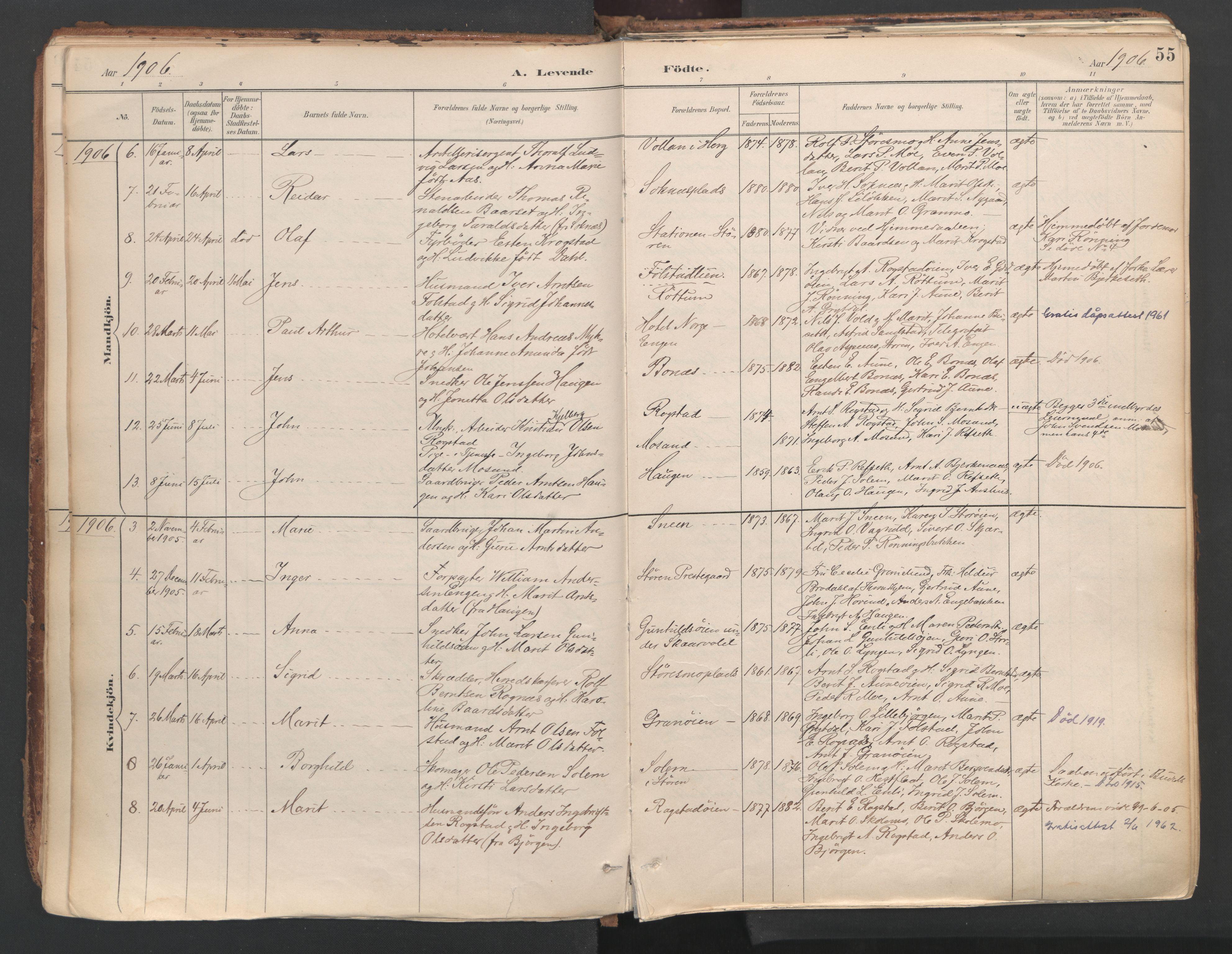 SAT, Ministerialprotokoller, klokkerbøker og fødselsregistre - Sør-Trøndelag, 687/L1004: Ministerialbok nr. 687A10, 1891-1923, s. 55