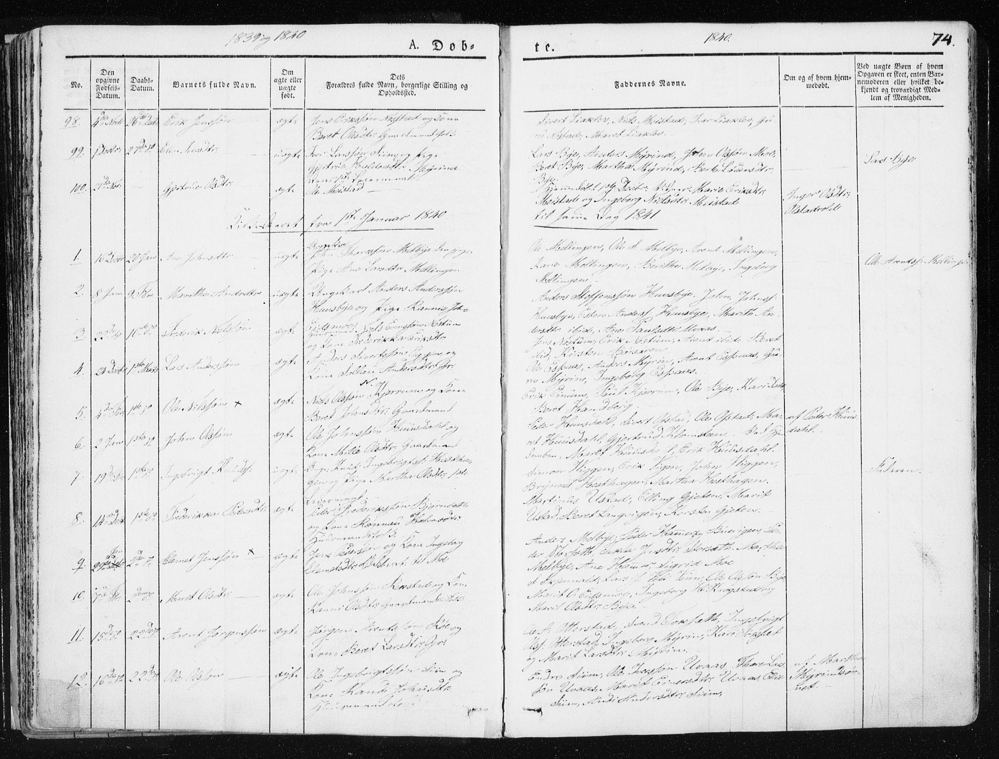 SAT, Ministerialprotokoller, klokkerbøker og fødselsregistre - Sør-Trøndelag, 665/L0771: Ministerialbok nr. 665A06, 1830-1856, s. 74