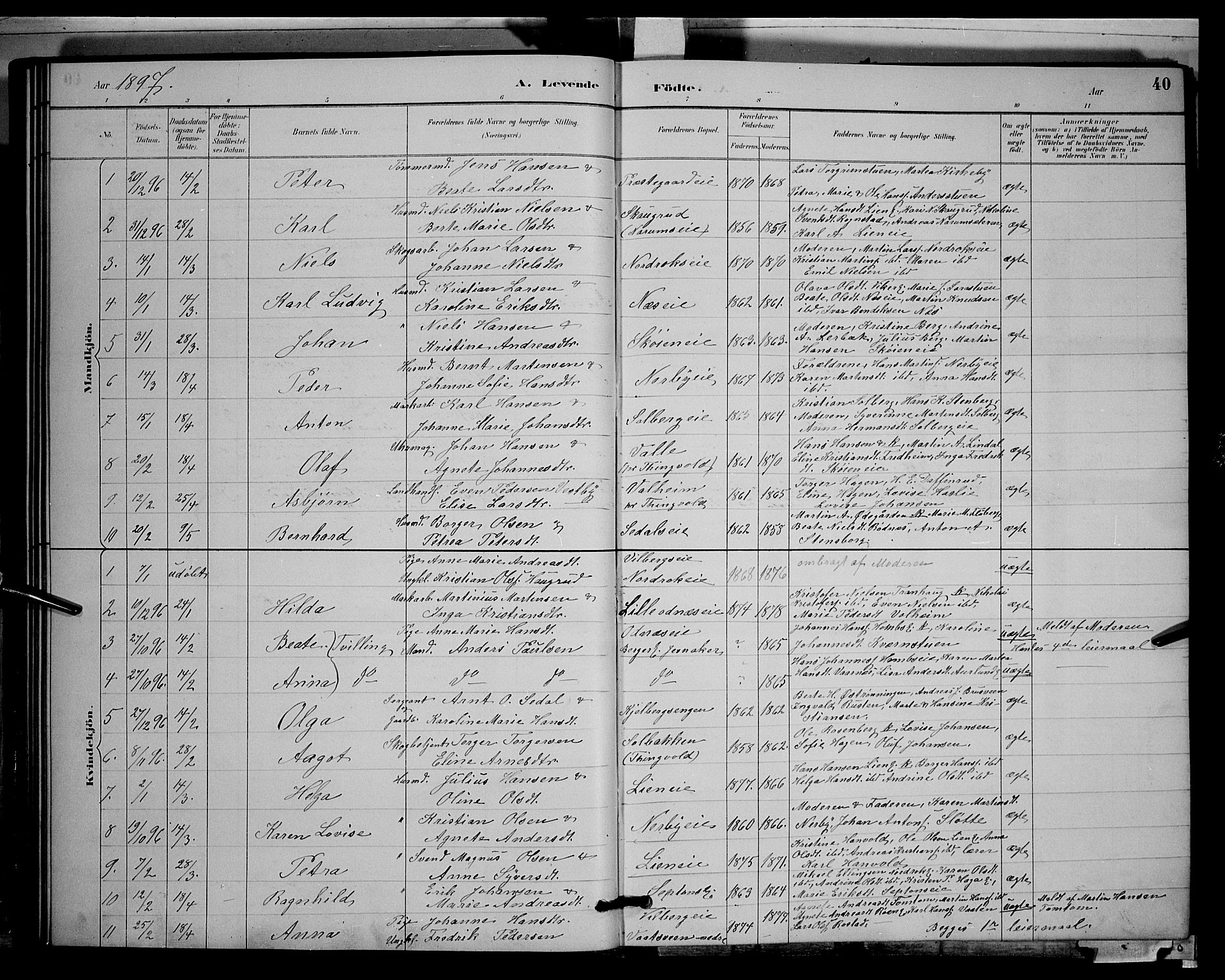 SAH, Søndre Land prestekontor, L/L0003: Klokkerbok nr. 3, 1884-1902, s. 40
