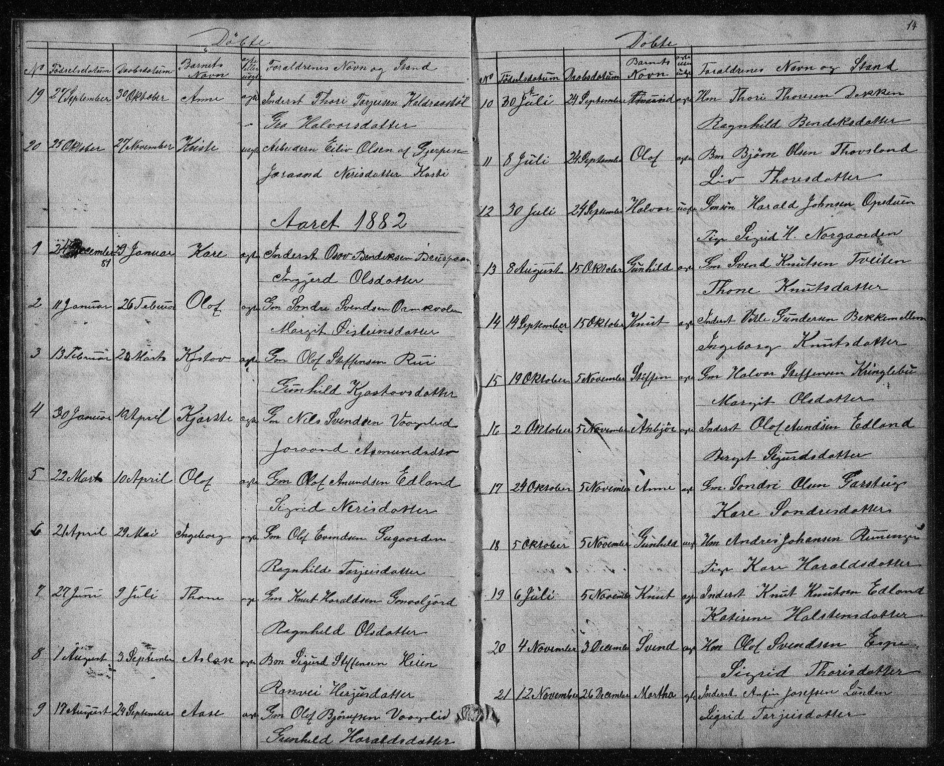 SAKO, Vinje kirkebøker, G/Gc/L0001: Klokkerbok nr. III 1, 1850-1893, s. 14
