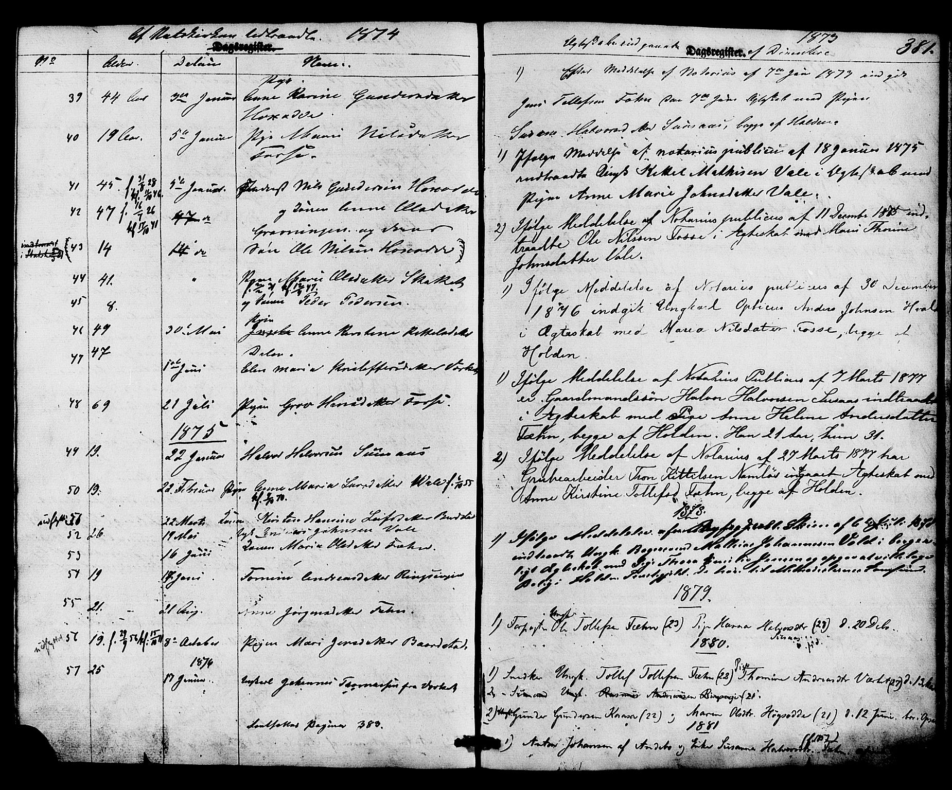 SAKO, Holla kirkebøker, F/Fa/L0007: Ministerialbok nr. 7, 1869-1881, s. 381