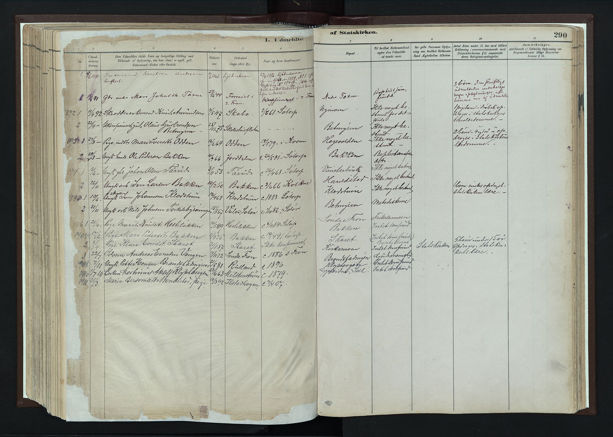 SAH, Nord-Fron prestekontor, Ministerialbok nr. 4, 1884-1914, s. 290
