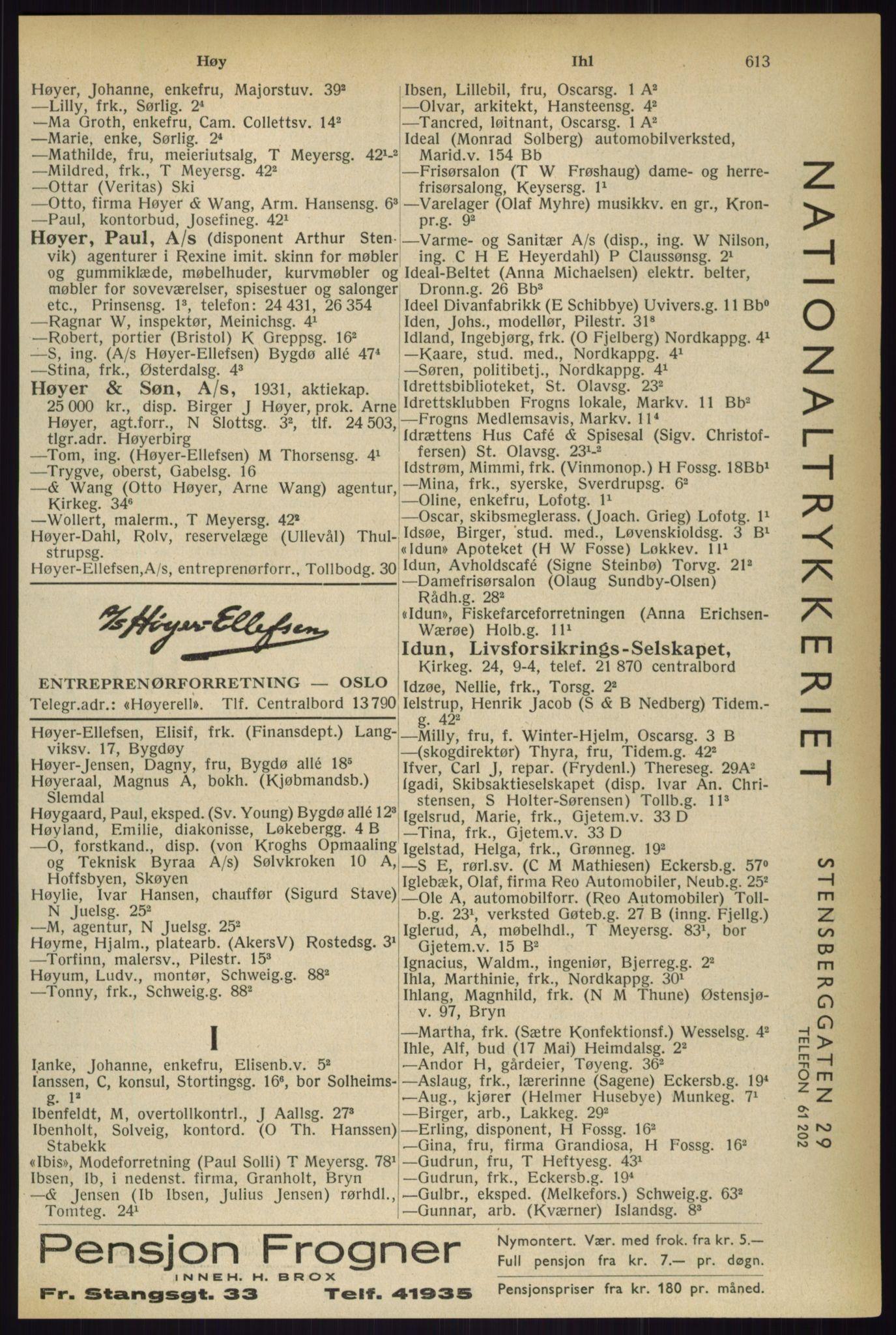 RA, Oslo adressebok (publikasjon)*, 1933, s. 613