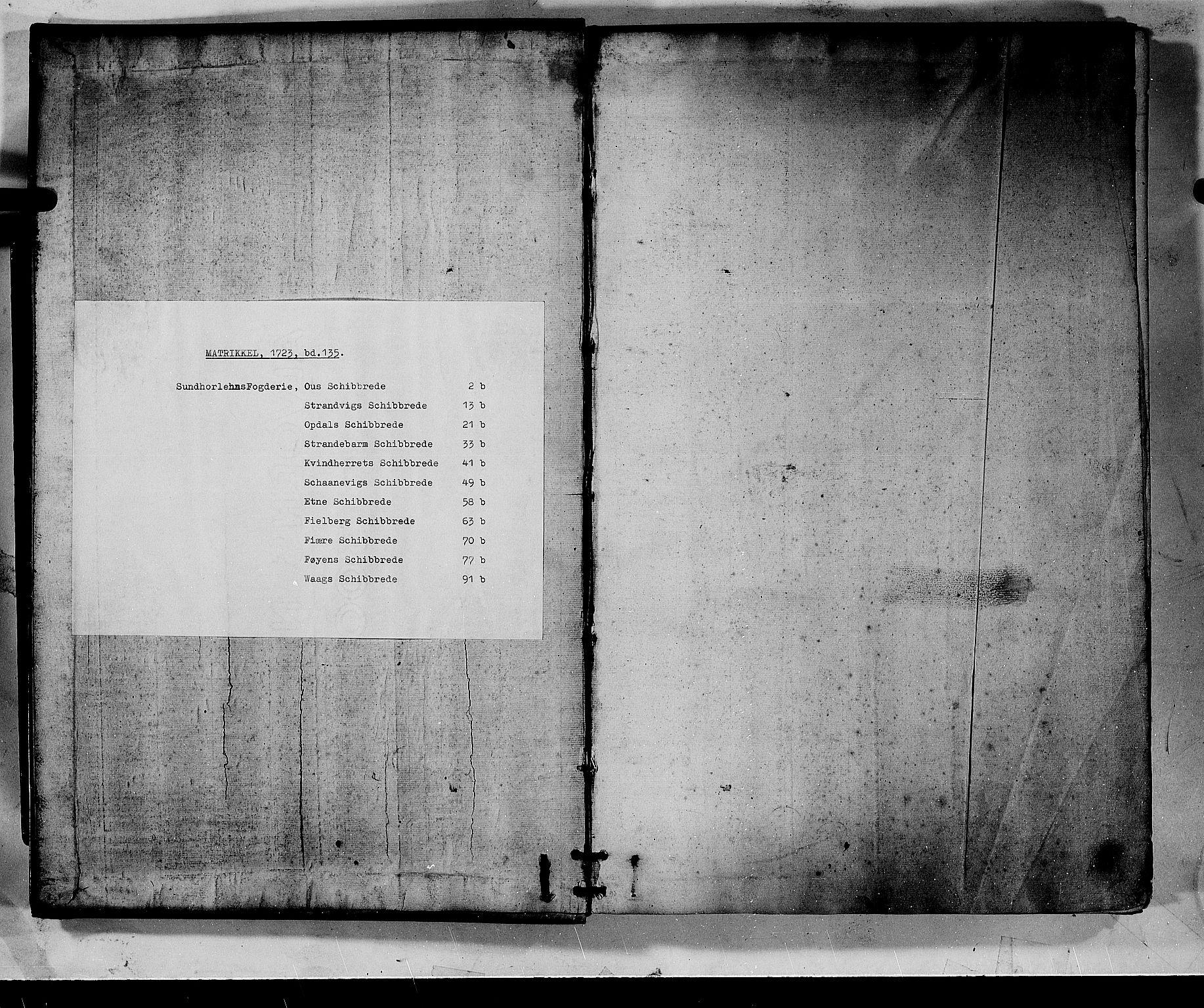 RA, Rentekammeret inntil 1814, Realistisk ordnet avdeling, N/Nb/Nbf/L0135: Sunnhordland matrikkelprotokoll, 1723, s. upaginert