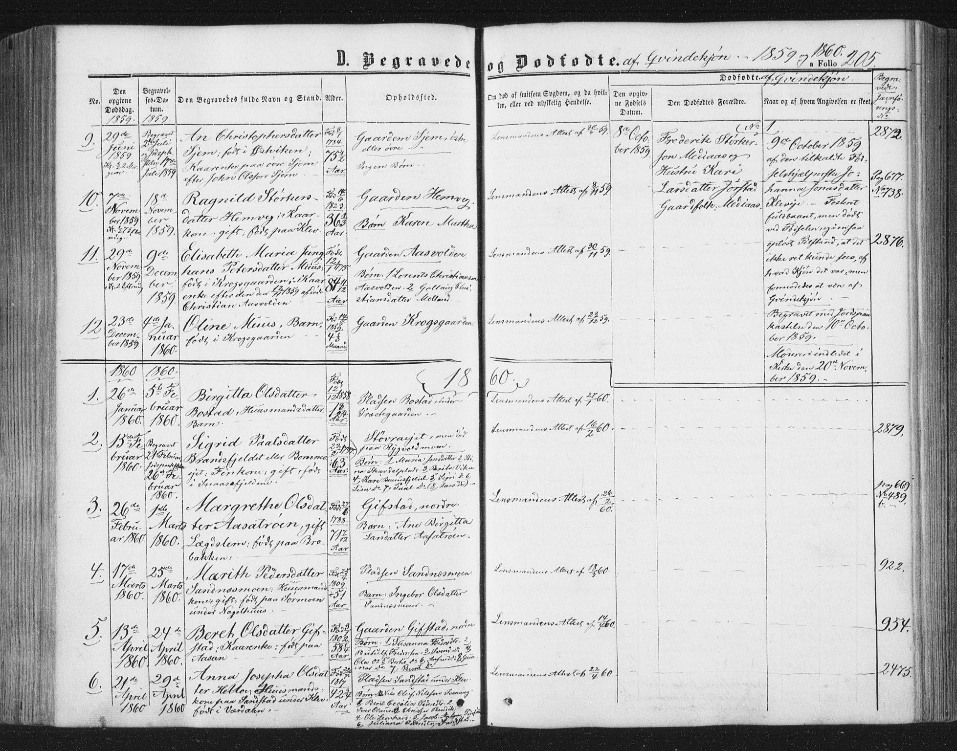 SAT, Ministerialprotokoller, klokkerbøker og fødselsregistre - Nord-Trøndelag, 749/L0472: Ministerialbok nr. 749A06, 1857-1873, s. 205