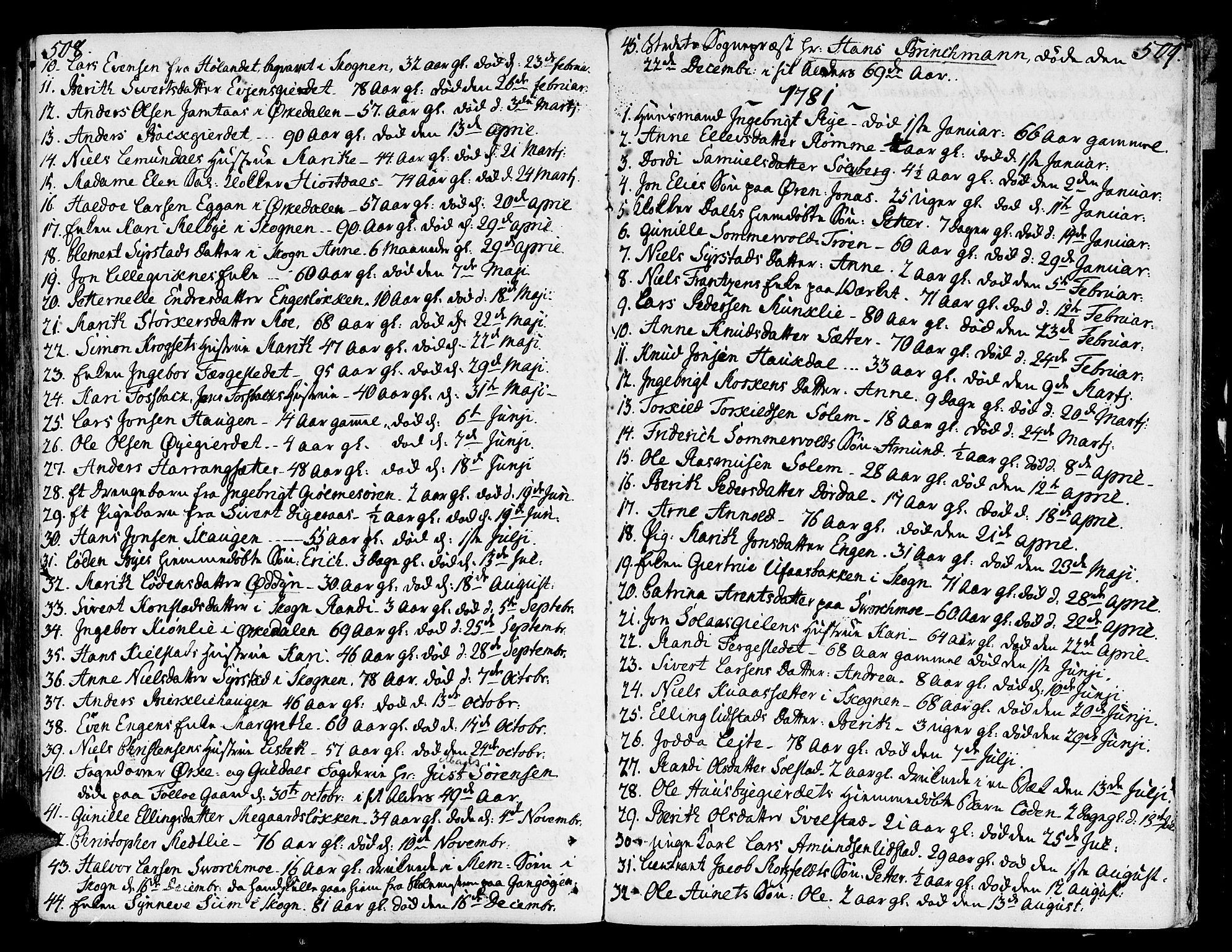 SAT, Ministerialprotokoller, klokkerbøker og fødselsregistre - Sør-Trøndelag, 668/L0802: Ministerialbok nr. 668A02, 1776-1799, s. 508-509