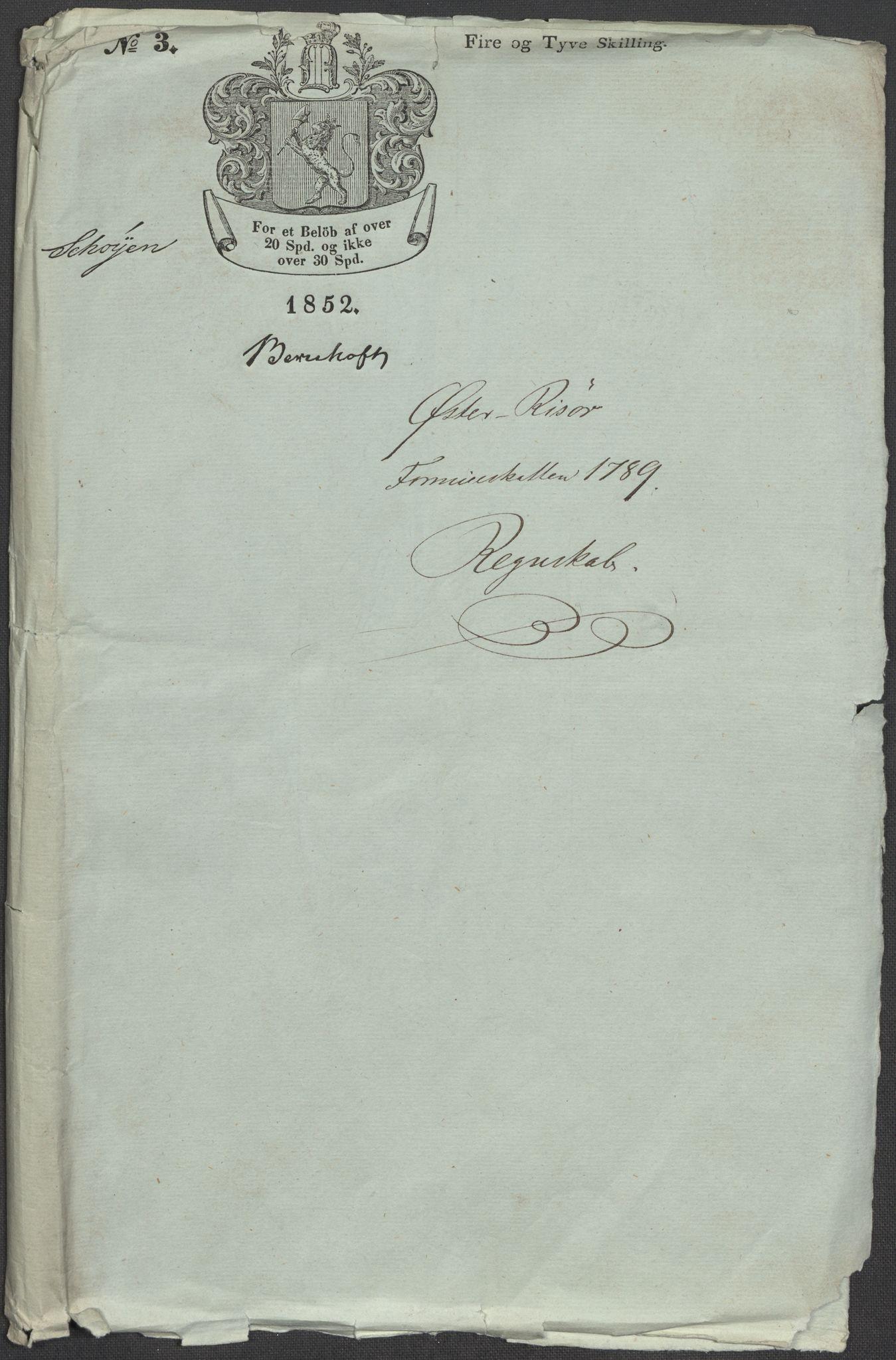 RA, Rentekammeret inntil 1814, Reviderte regnskaper, Mindre regnskaper, Rf/Rfe/L0038: (Øster) Risør, Romsdal fogderi, 1789, s. 3