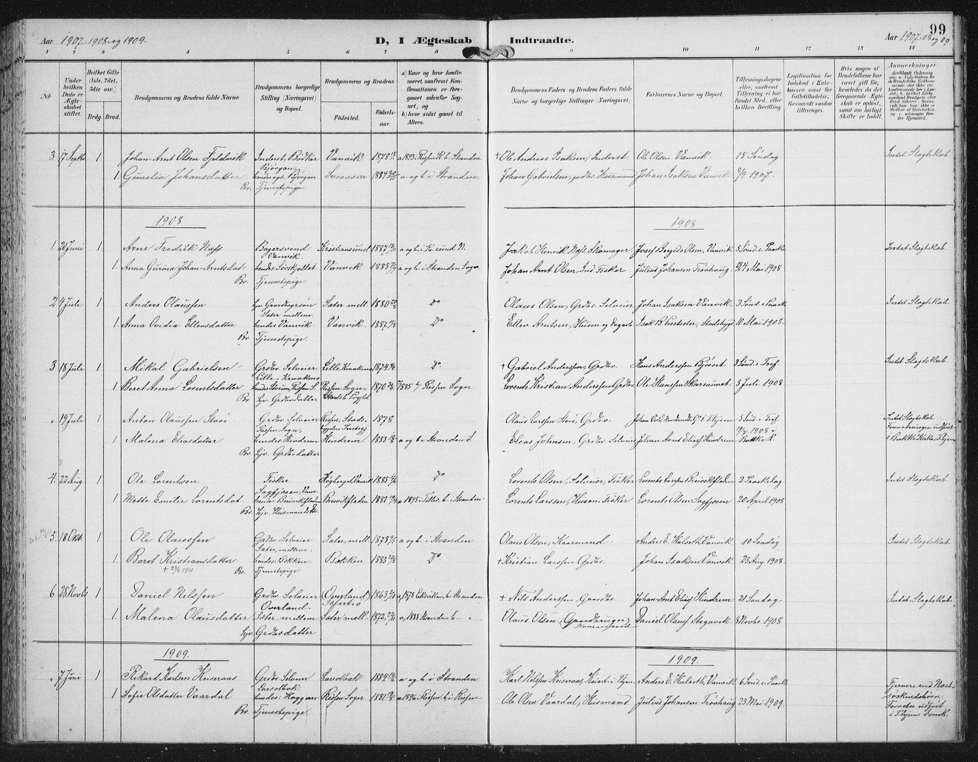 SAT, Ministerialprotokoller, klokkerbøker og fødselsregistre - Nord-Trøndelag, 702/L0024: Ministerialbok nr. 702A02, 1898-1914, s. 99