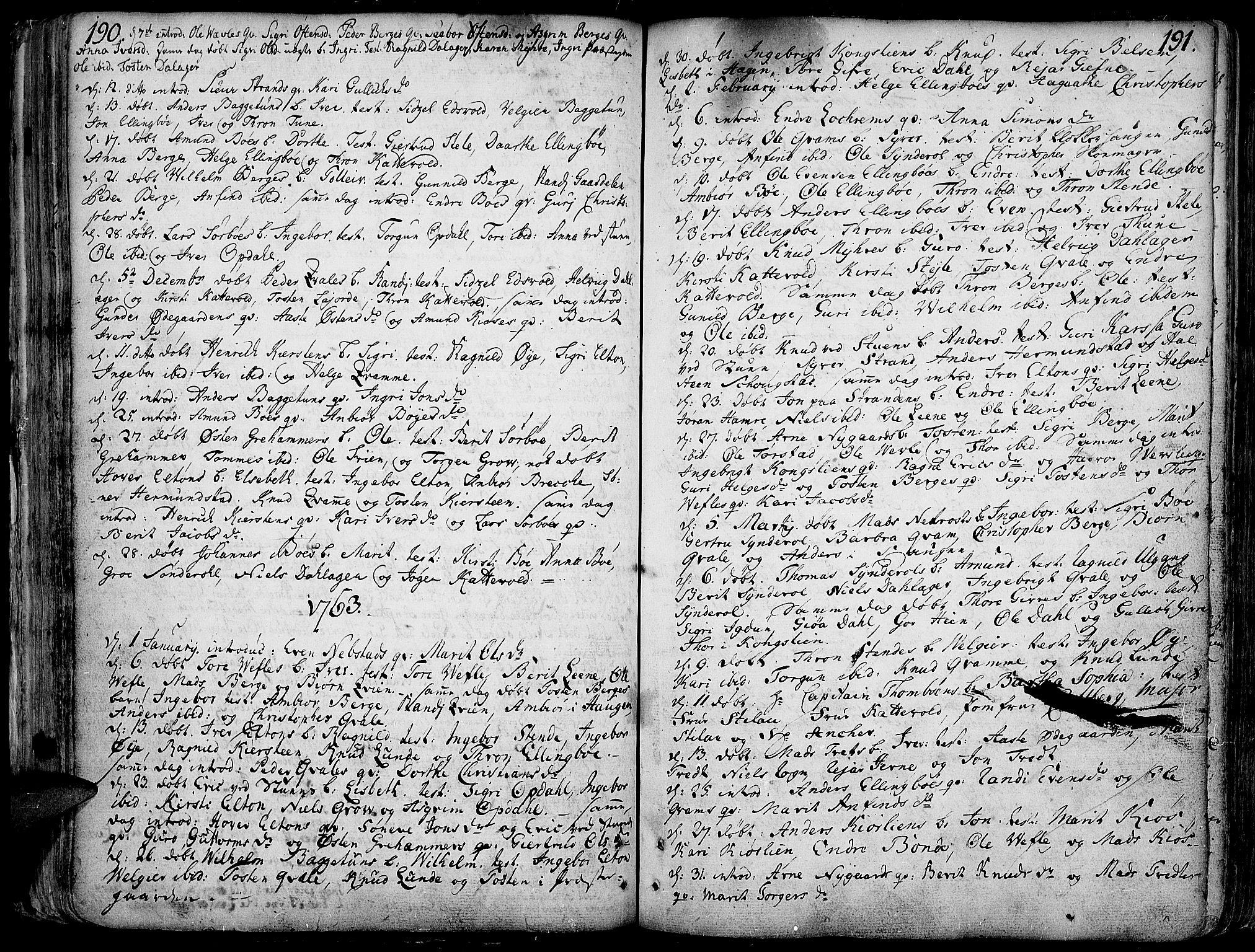 SAH, Vang prestekontor, Valdres, Ministerialbok nr. 1, 1730-1796, s. 190-191