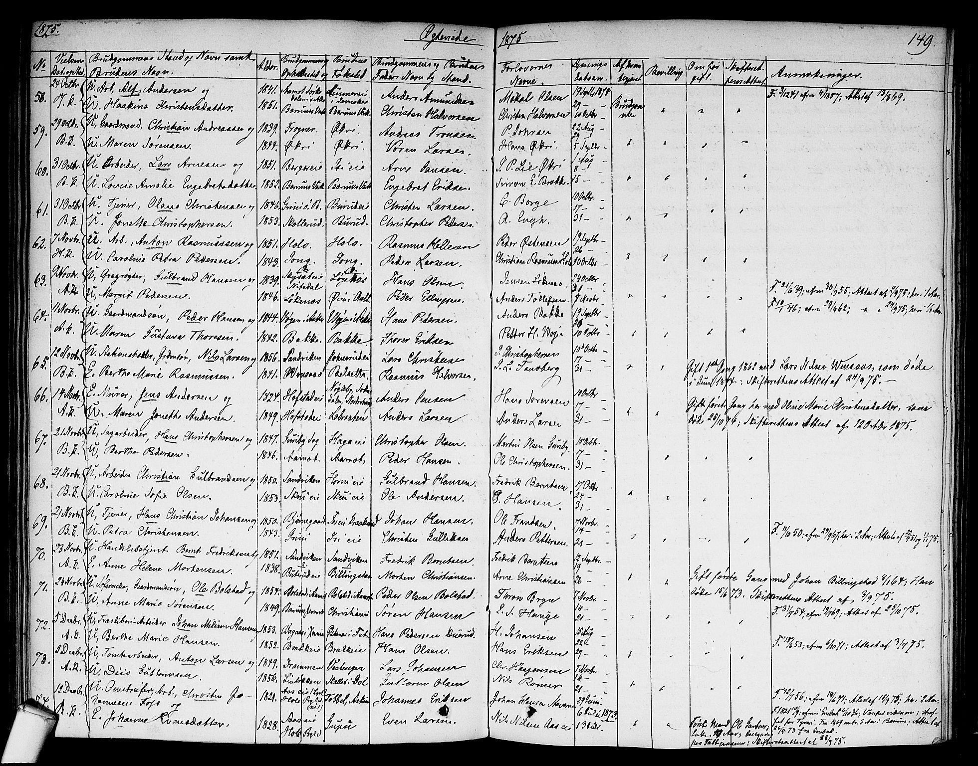 SAO, Asker prestekontor Kirkebøker, F/Fa/L0010: Ministerialbok nr. I 10, 1825-1878, s. 149