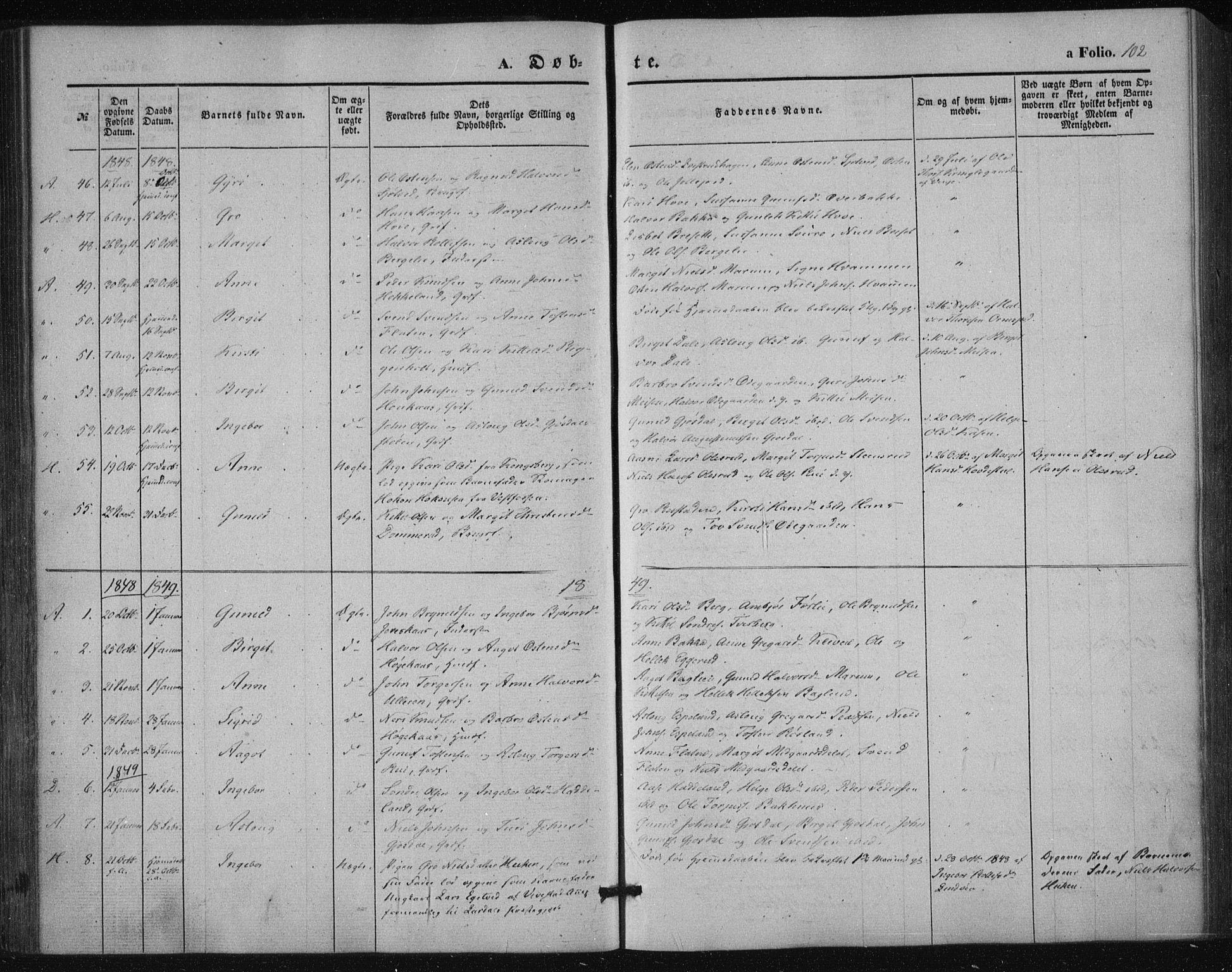 SAKO, Tinn kirkebøker, F/Fa/L0005: Ministerialbok nr. I 5, 1844-1856, s. 102