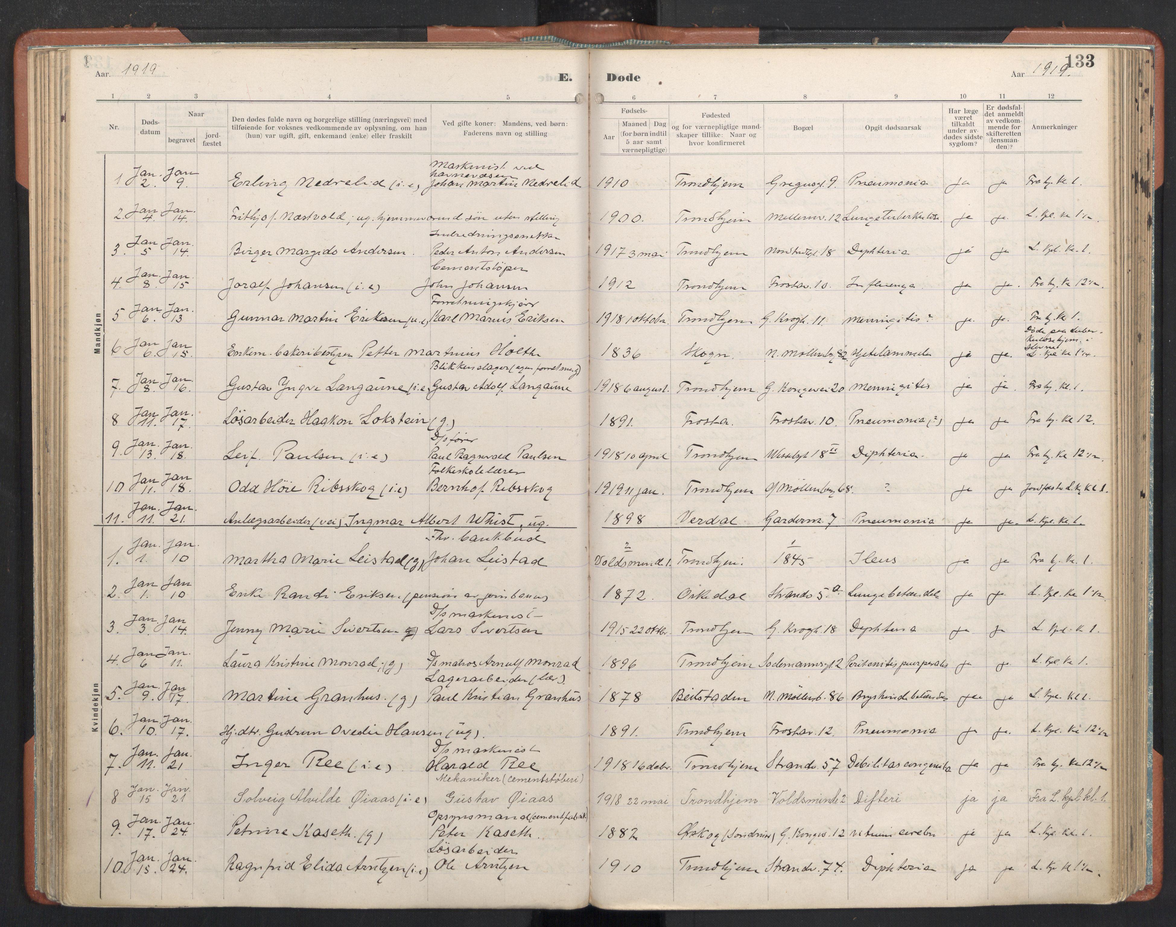 SAT, Ministerialprotokoller, klokkerbøker og fødselsregistre - Sør-Trøndelag, 605/L0245: Ministerialbok nr. 605A07, 1916-1938, s. 133