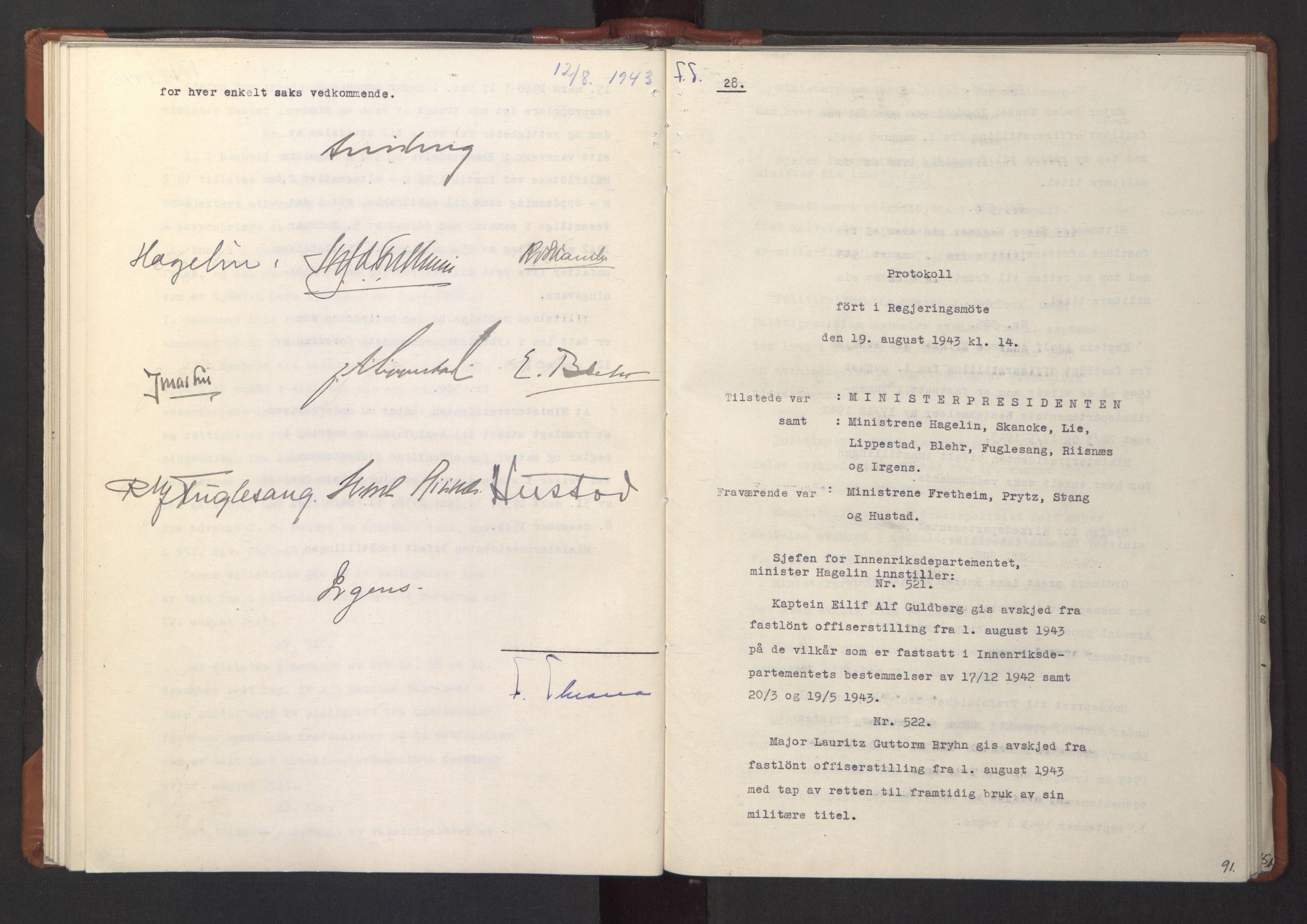 RA, NS-administrasjonen 1940-1945 (Statsrådsekretariatet, de kommisariske statsråder mm), D/Da/L0003: Vedtak (Beslutninger) nr. 1-746 og tillegg nr. 1-47 (RA. j.nr. 1394/1944, tilgangsnr. 8/1944, 1943, s. 90b-91a