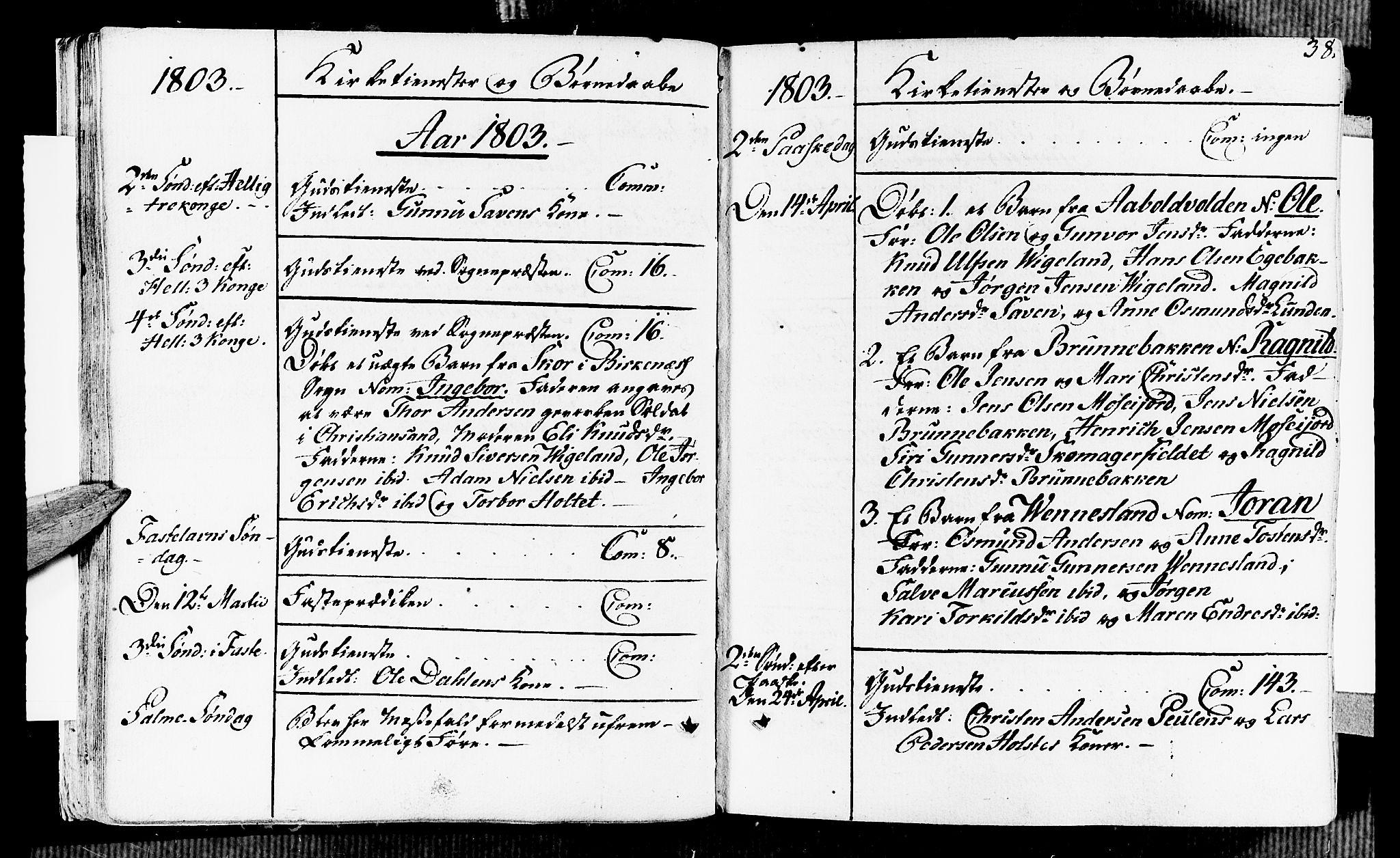 SAK, Vennesla sokneprestkontor, Fa/Fab/L0002: Ministerialbok nr. A 2, 1794-1834, s. 38