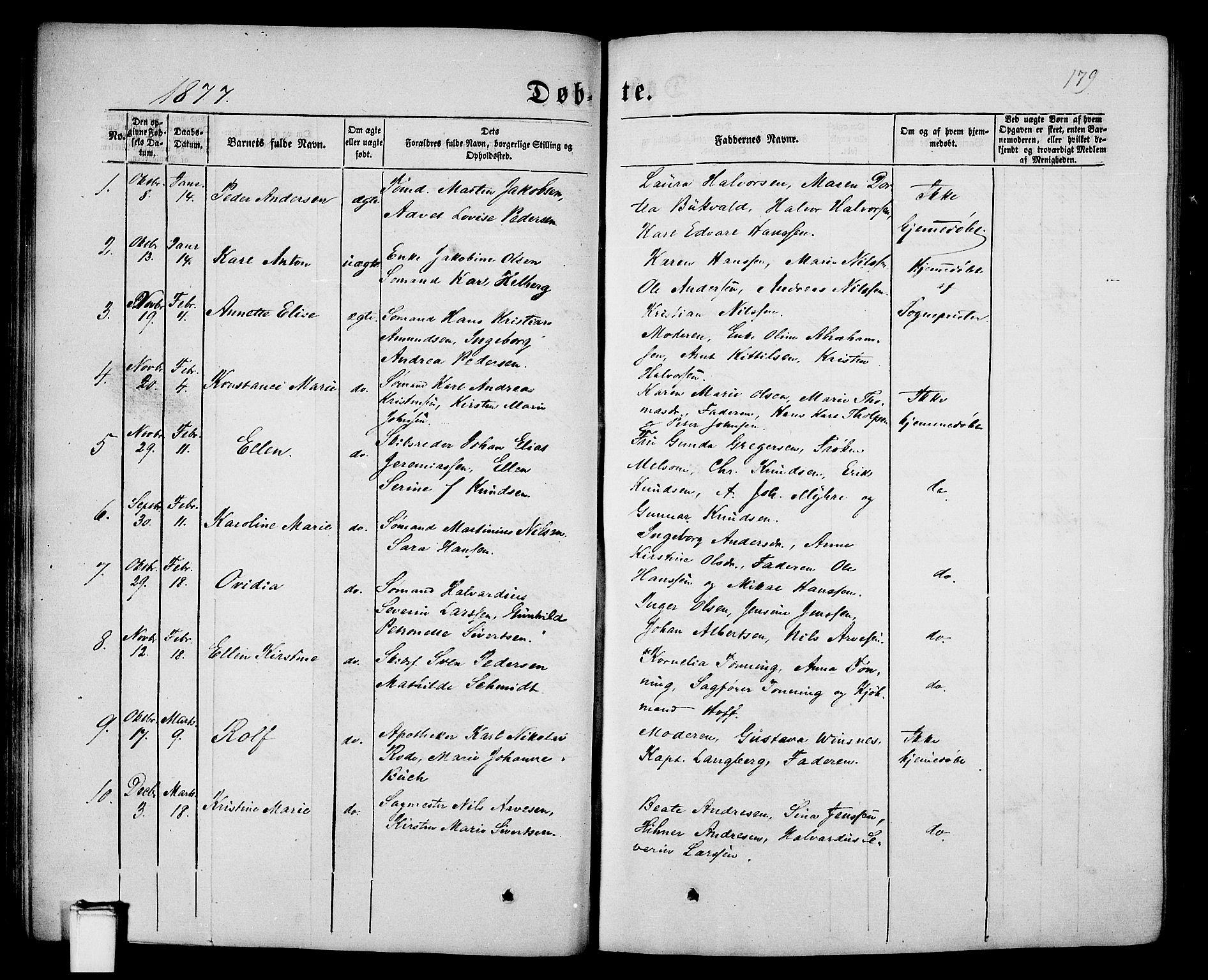 SAKO, Porsgrunn kirkebøker , G/Gb/L0004: Klokkerbok nr. II 4, 1853-1882, s. 179
