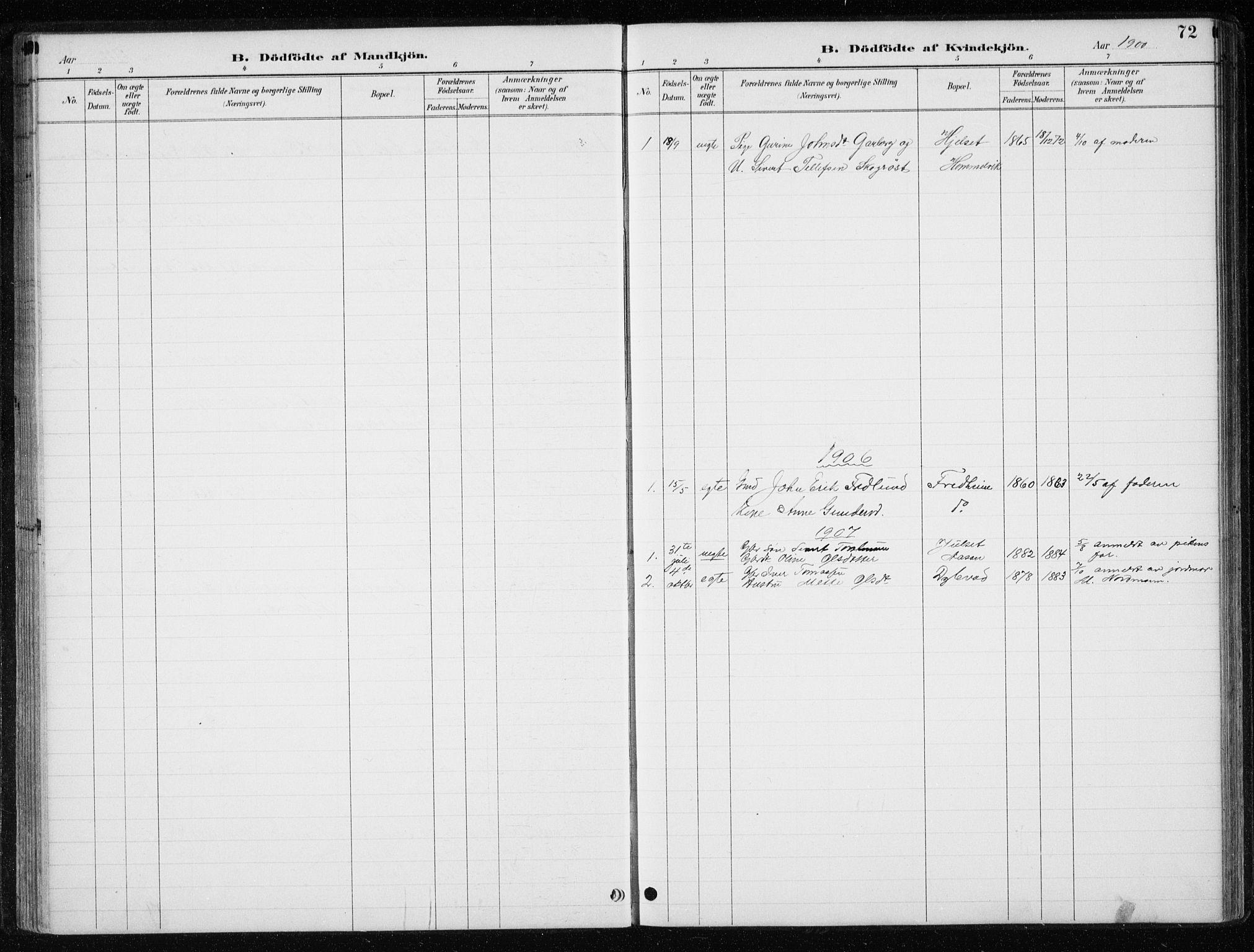 SAT, Ministerialprotokoller, klokkerbøker og fødselsregistre - Nord-Trøndelag, 710/L0096: Klokkerbok nr. 710C01, 1892-1925, s. 72