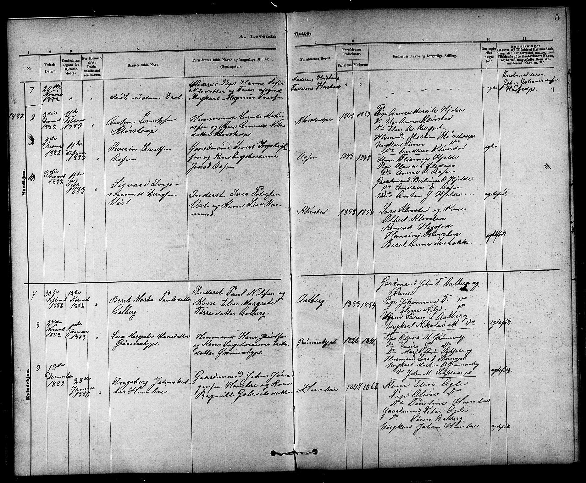 SAT, Ministerialprotokoller, klokkerbøker og fødselsregistre - Nord-Trøndelag, 732/L0318: Klokkerbok nr. 732C02, 1881-1911, s. 5