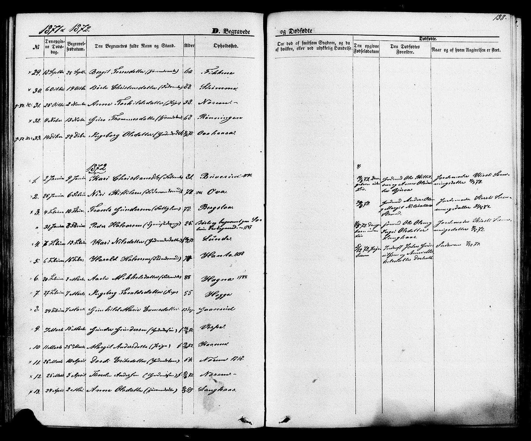 SAKO, Lunde kirkebøker, F/Fa/L0001: Ministerialbok nr. I 1, 1866-1883, s. 138