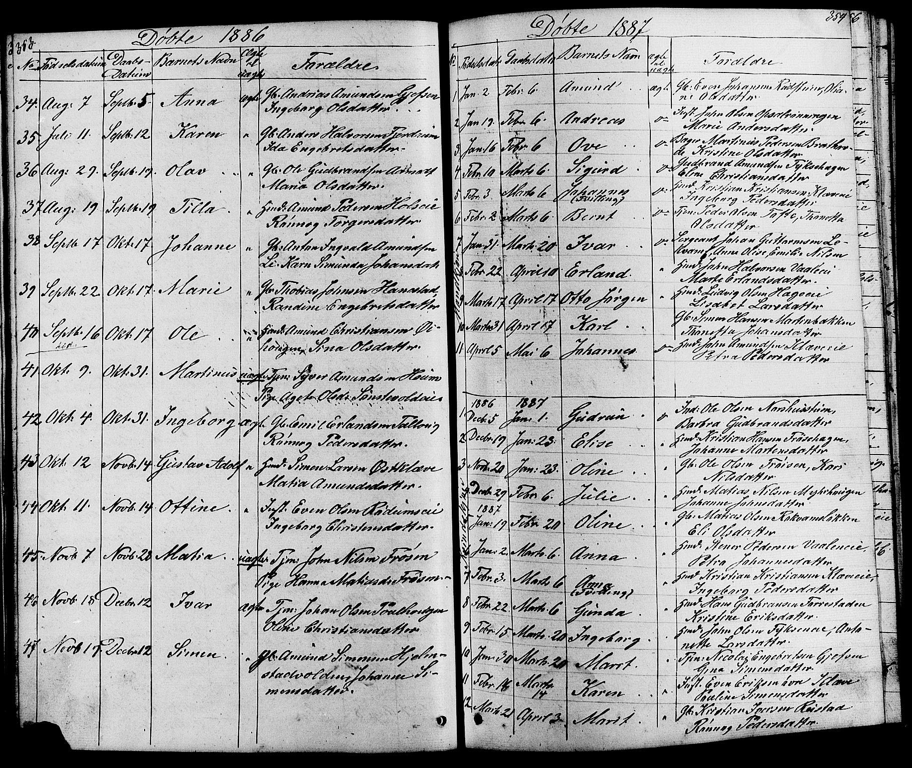 SAH, Østre Gausdal prestekontor, Klokkerbok nr. 1, 1863-1893, s. 353-354