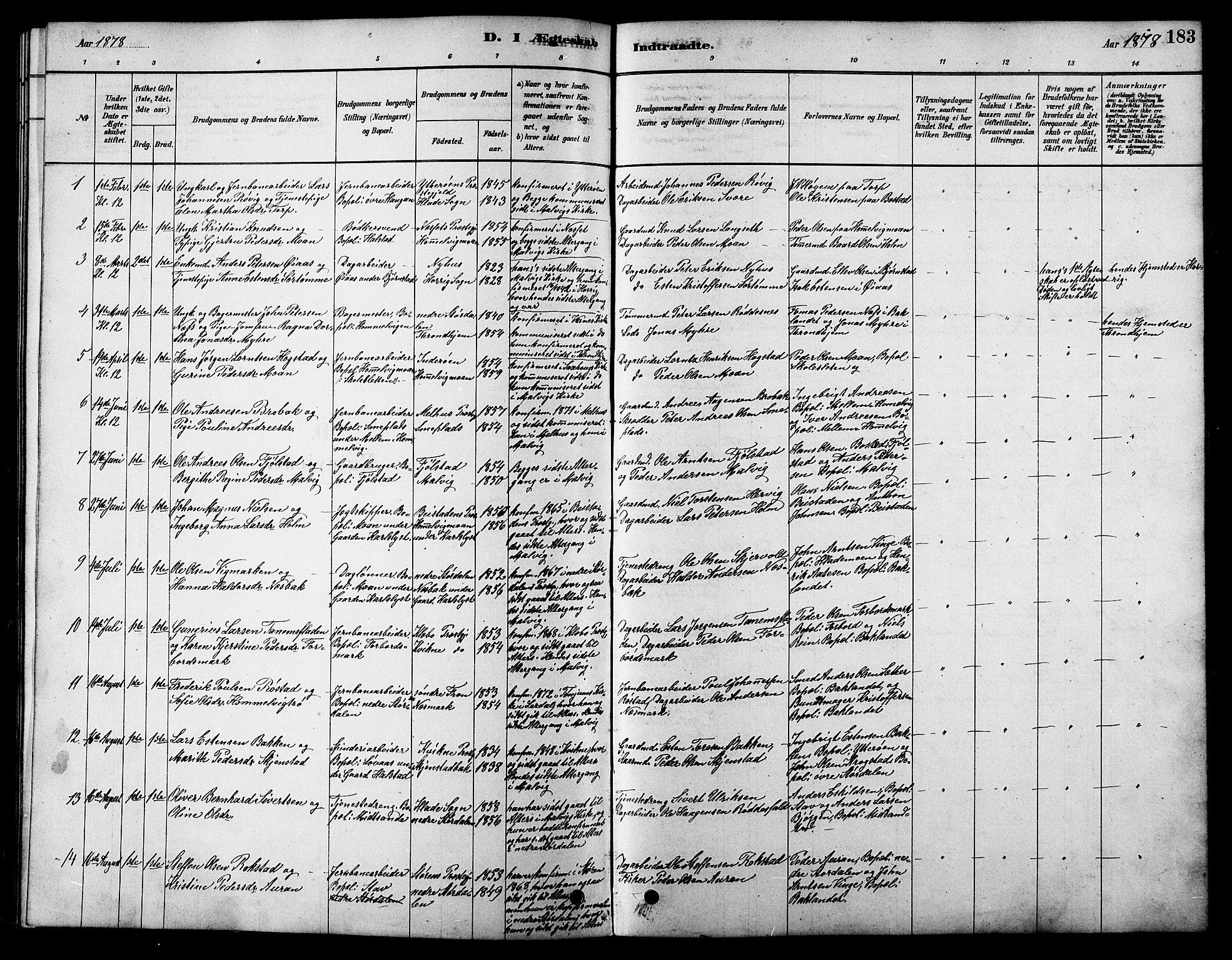 SAT, Ministerialprotokoller, klokkerbøker og fødselsregistre - Sør-Trøndelag, 616/L0423: Klokkerbok nr. 616C06, 1878-1903, s. 183