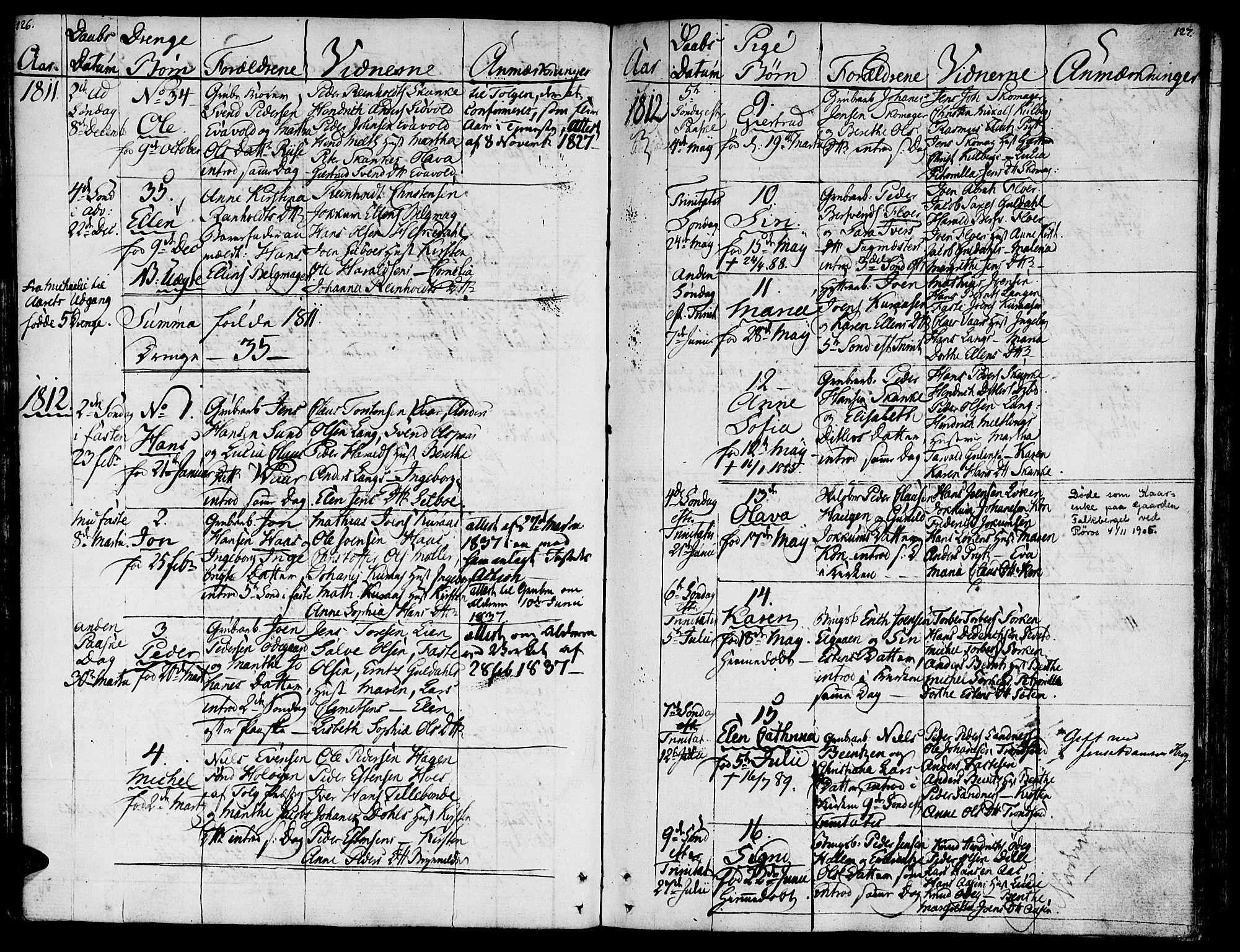 SAT, Ministerialprotokoller, klokkerbøker og fødselsregistre - Sør-Trøndelag, 681/L0928: Ministerialbok nr. 681A06, 1806-1816, s. 126-127