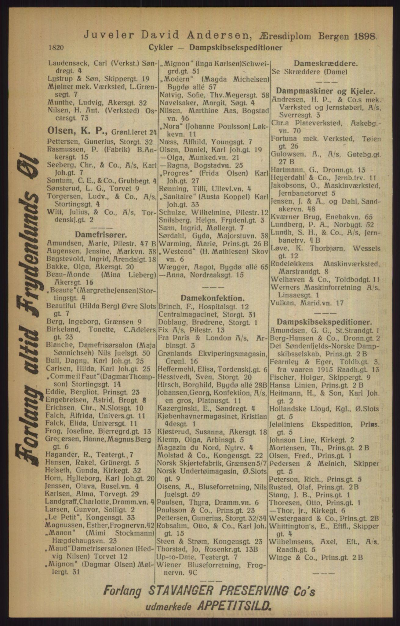 RA, Kristiania adressebok (publikasjon)*, 1915, s. 1820