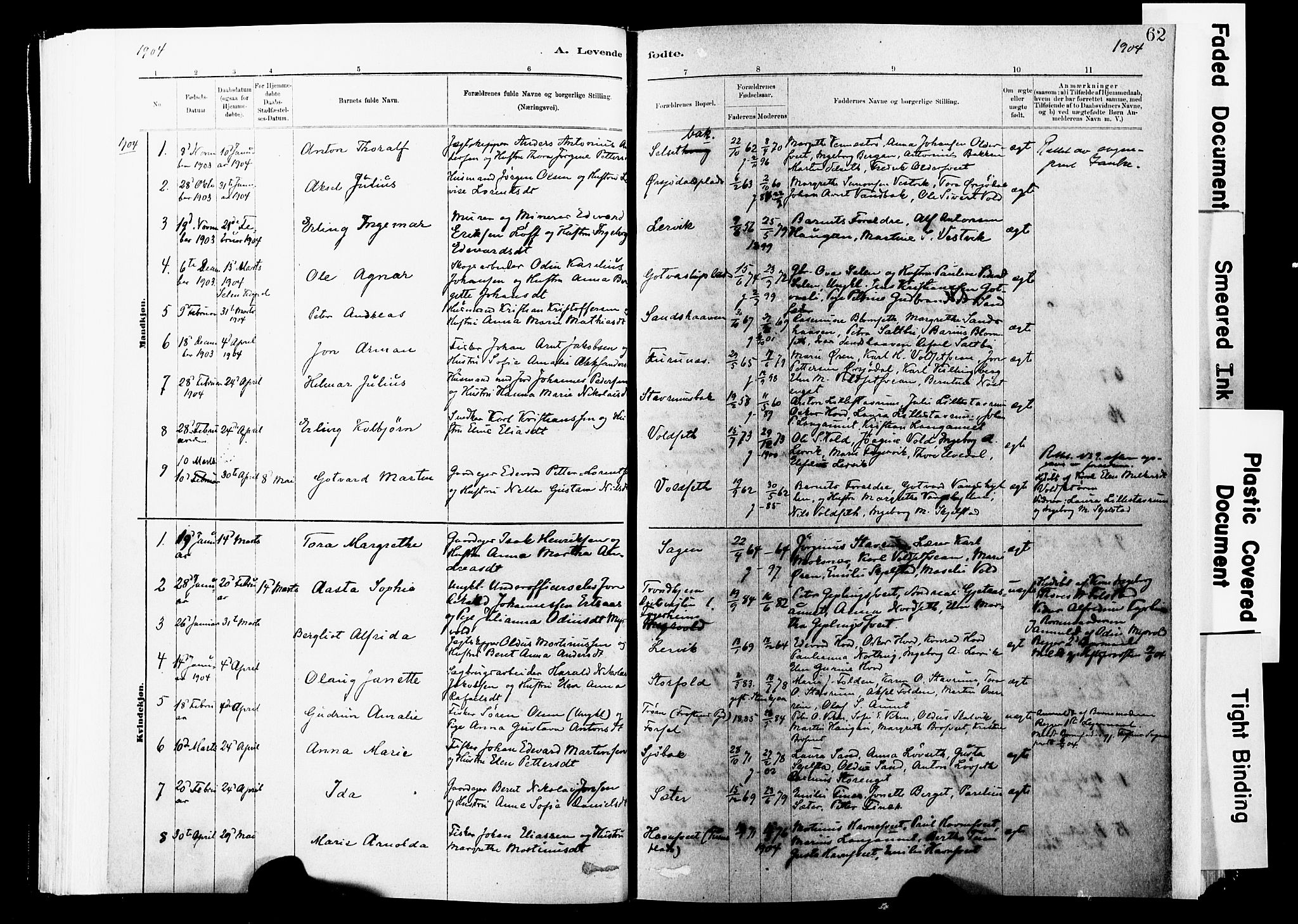 SAT, Ministerialprotokoller, klokkerbøker og fødselsregistre - Nord-Trøndelag, 744/L0420: Ministerialbok nr. 744A04, 1882-1904, s. 62