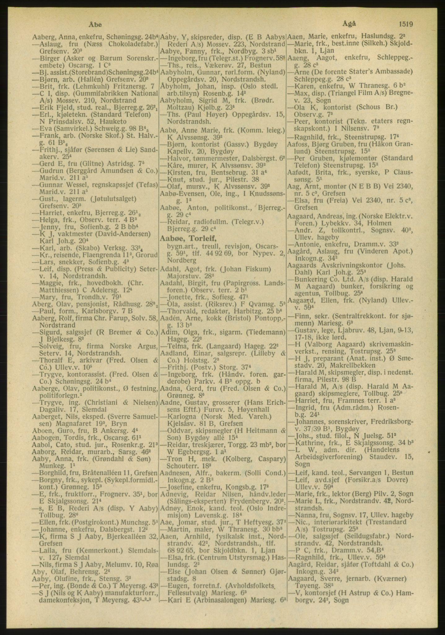 PUBL, Kristiania/Oslo adressebok, 1951, s. 1519