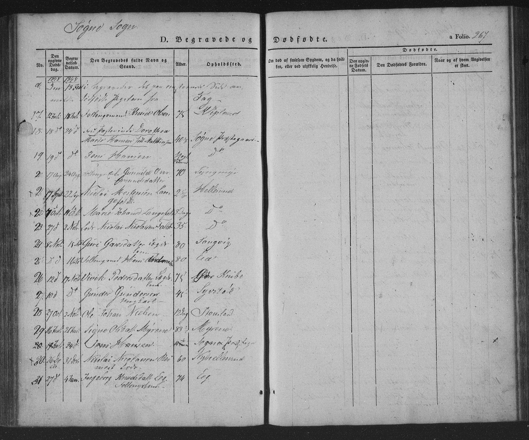 SAK, Søgne sokneprestkontor, F/Fa/Fab/L0009: Ministerialbok nr. A 9, 1838-1853, s. 267