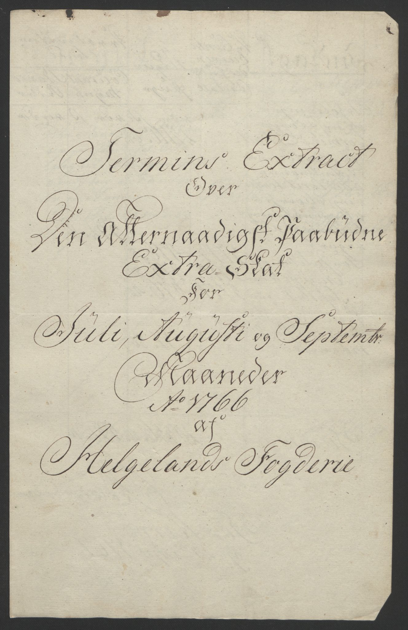 RA, Rentekammeret inntil 1814, Reviderte regnskaper, Fogderegnskap, R65/L4573: Ekstraskatten Helgeland, 1762-1772, s. 130