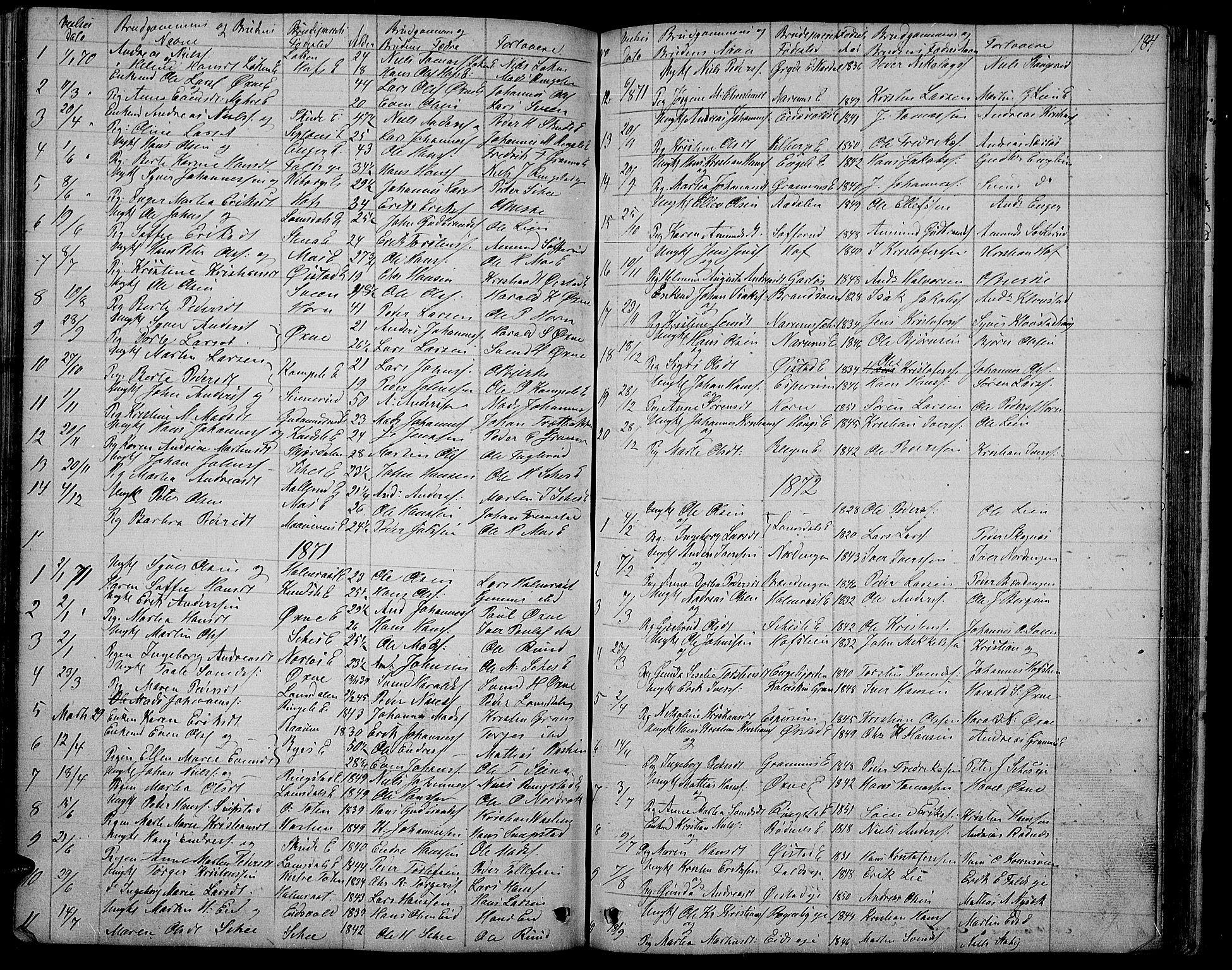 SAH, Søndre Land prestekontor, L/L0001: Klokkerbok nr. 1, 1849-1883, s. 184