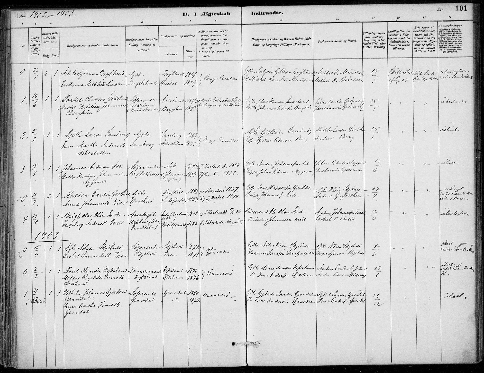 SAB, Strandebarm sokneprestembete, H/Haa: Ministerialbok nr. D  1, 1886-1912, s. 101
