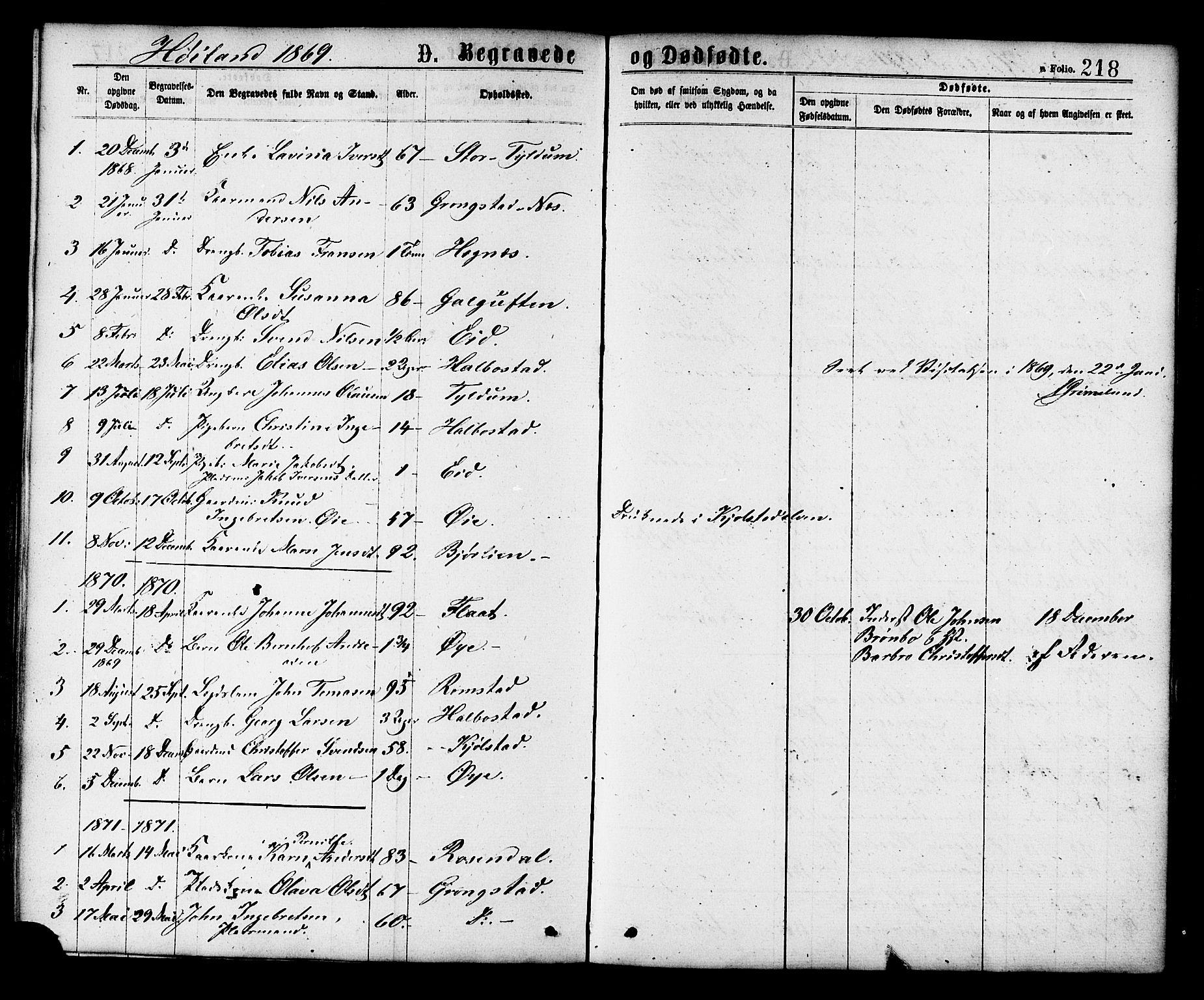 SAT, Ministerialprotokoller, klokkerbøker og fødselsregistre - Nord-Trøndelag, 758/L0516: Ministerialbok nr. 758A03 /2, 1869-1879, s. 218