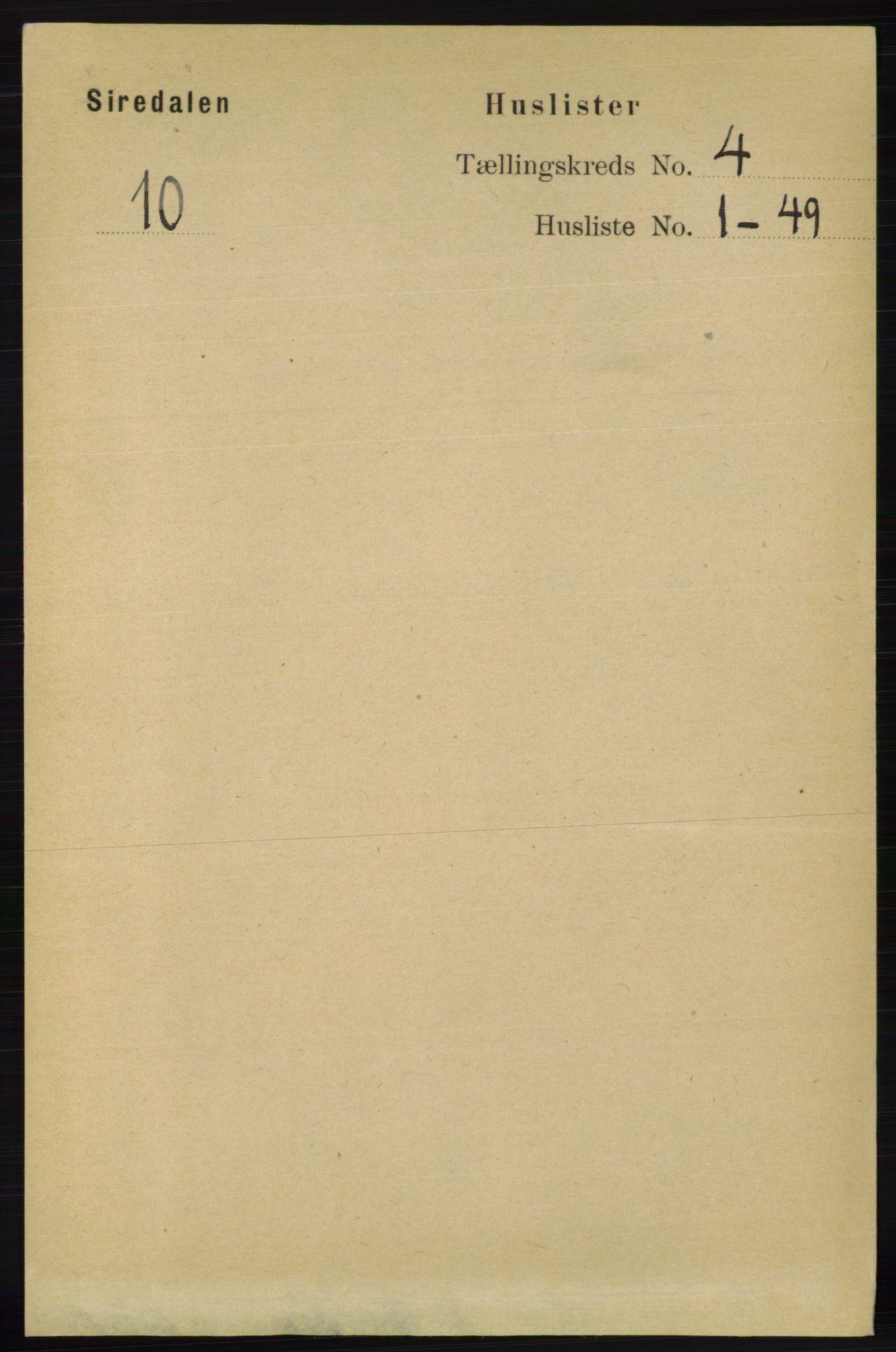 RA, Folketelling 1891 for 1046 Sirdal herred, 1891, s. 883