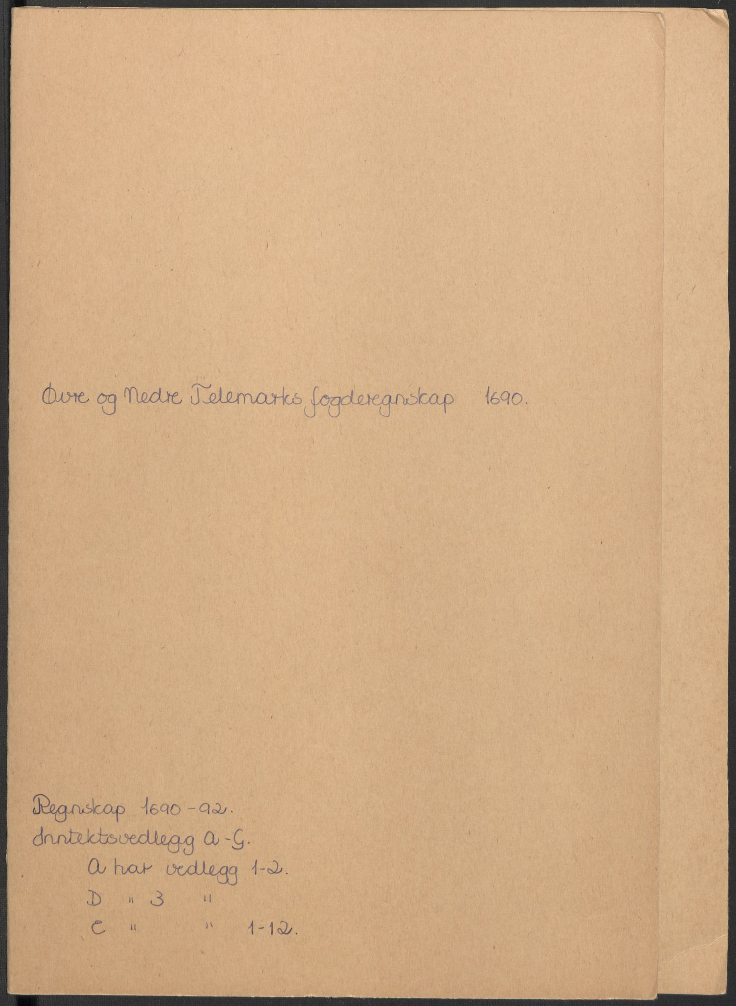 RA, Rentekammeret inntil 1814, Reviderte regnskaper, Fogderegnskap, R35/L2089: Fogderegnskap Øvre og Nedre Telemark, 1690-1692, s. 2