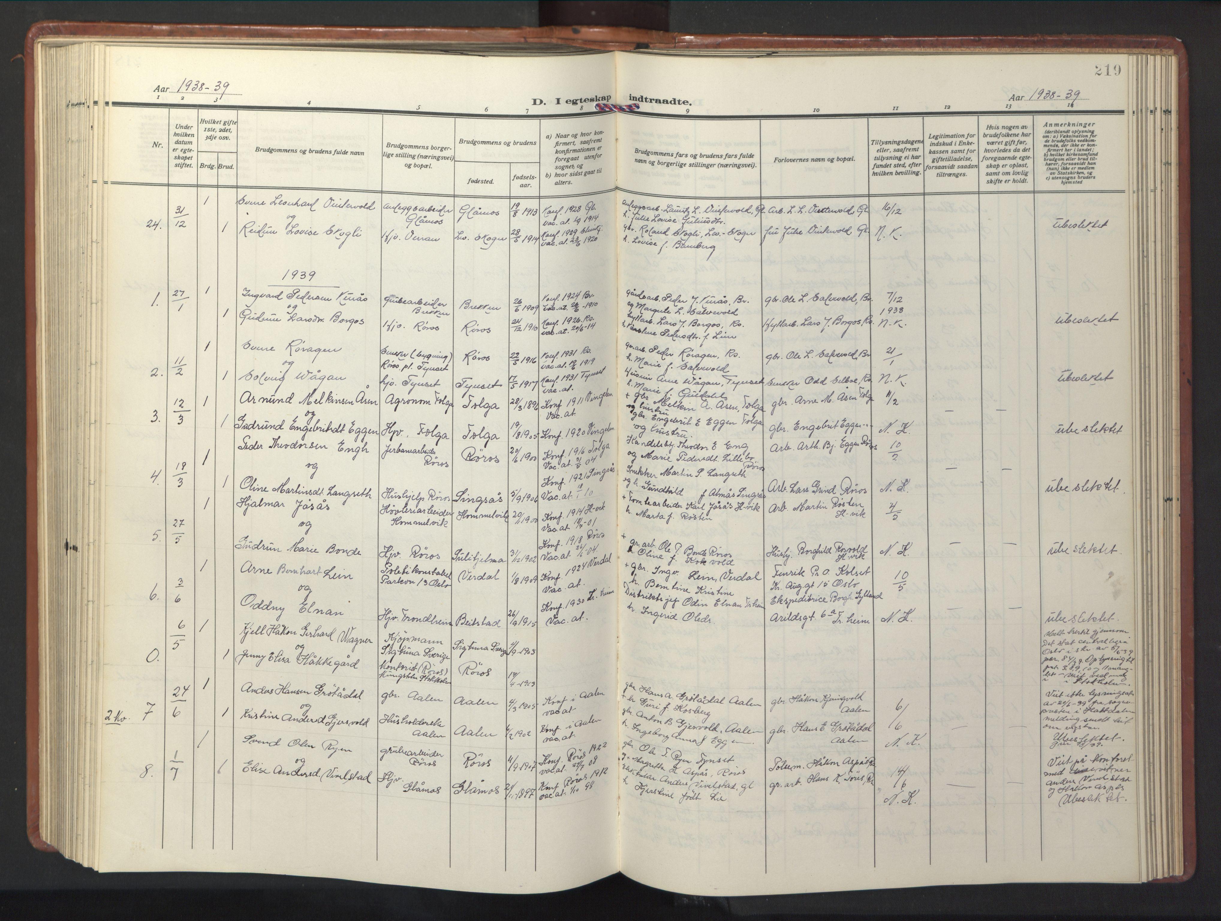 SAT, Ministerialprotokoller, klokkerbøker og fødselsregistre - Sør-Trøndelag, 681/L0943: Klokkerbok nr. 681C07, 1926-1954, s. 219